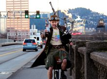 The Unipiper with Portland Brewing bottle. (image courtesy of Portland Brewing)