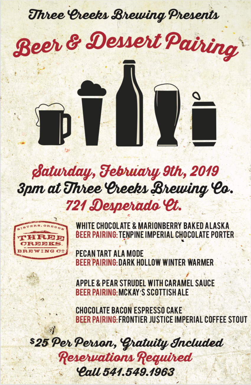 Three Creeks Brewing Beer & Dessert Pairing