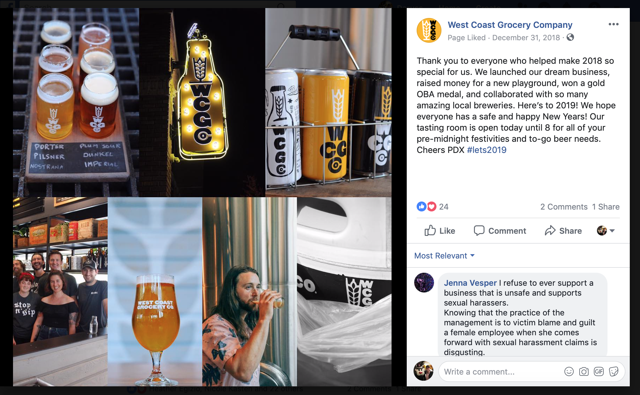 West Coast Grocery Co. Facebook Page Post on December 31, 2018