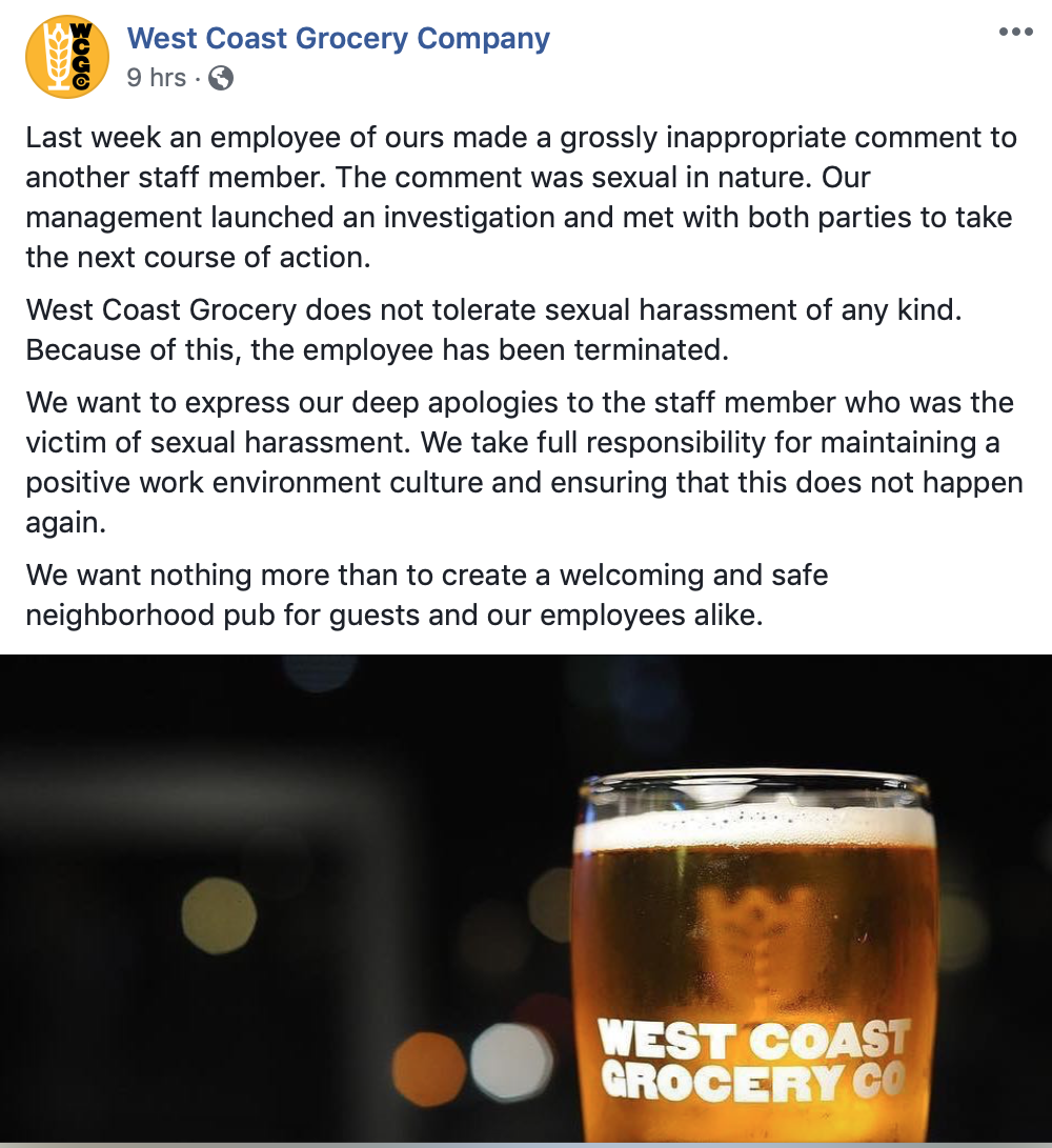 West Coast Grocery Co. Facebook Post on Sunday, January 6, 2019
