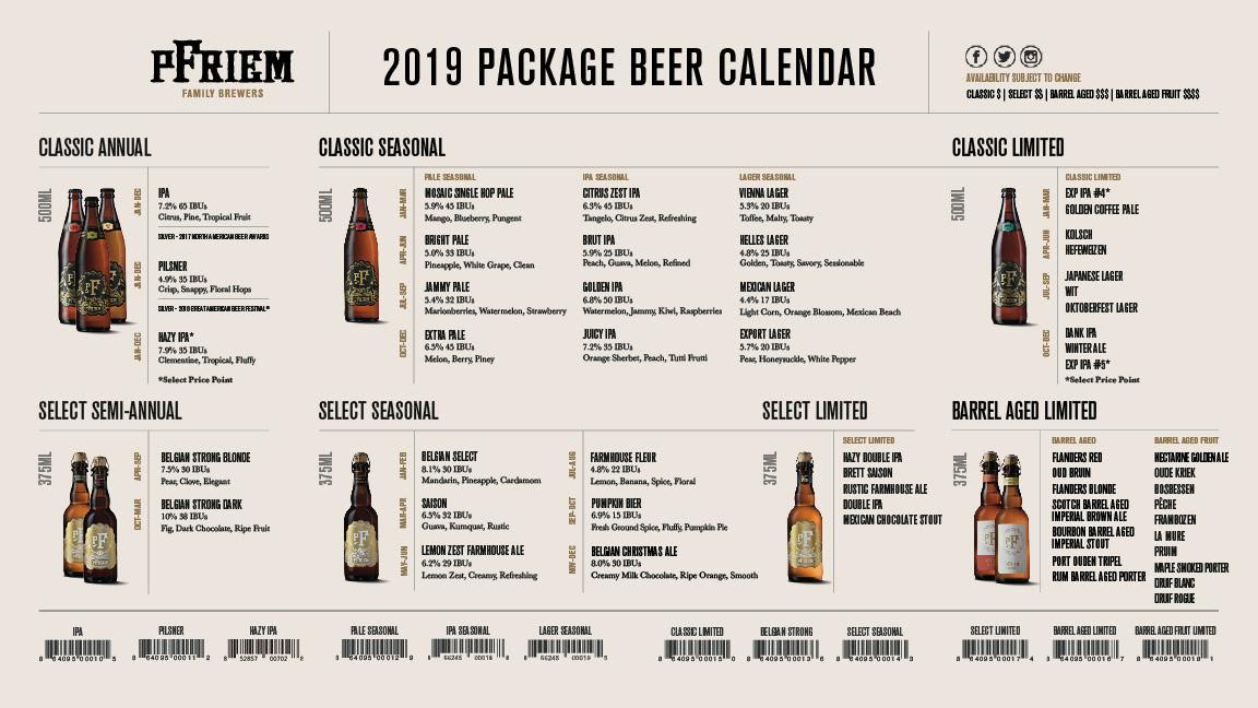 pFriem Family Brewers 2019 Packaged Beer Release Calendar