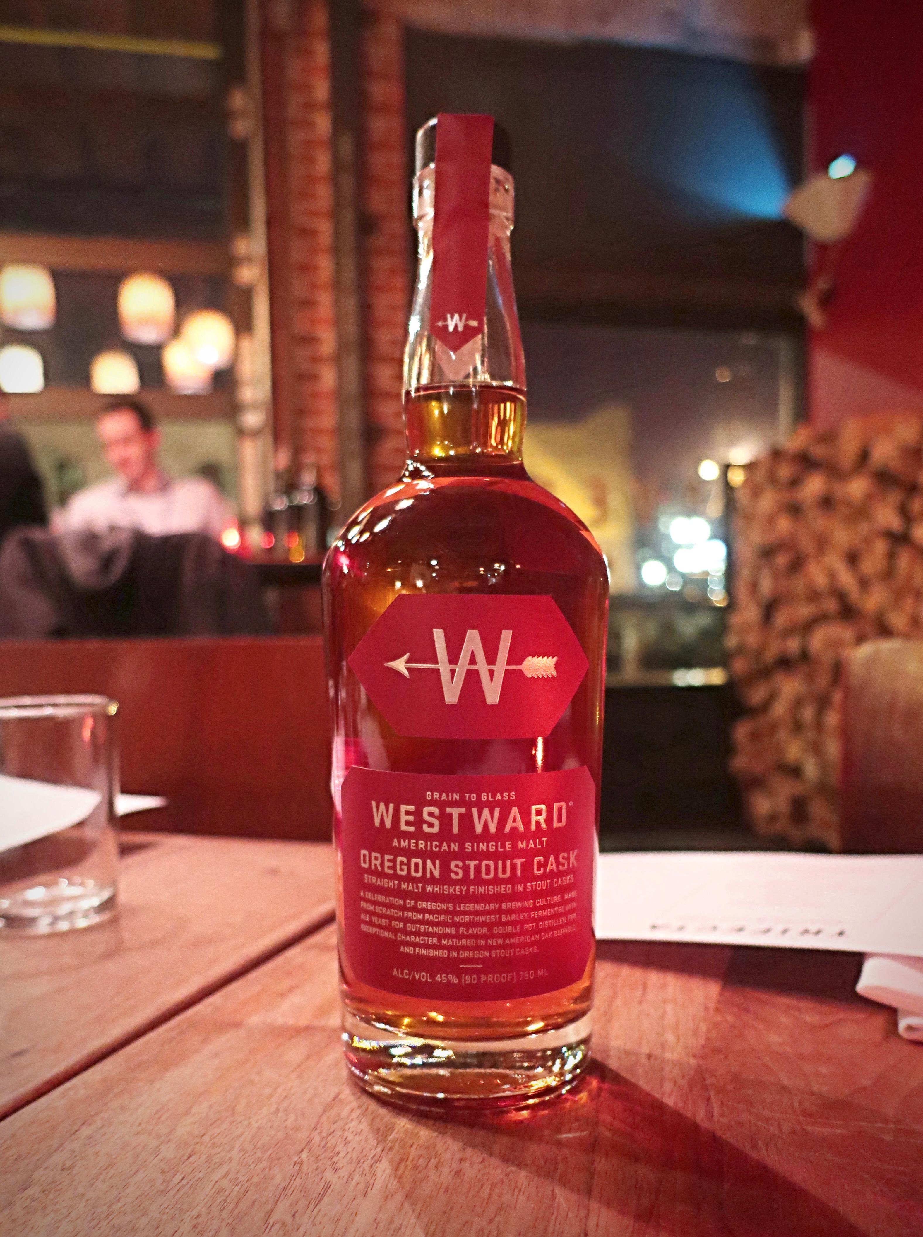 A bottle of Westward American Single Malt Oregon Stout Cask.