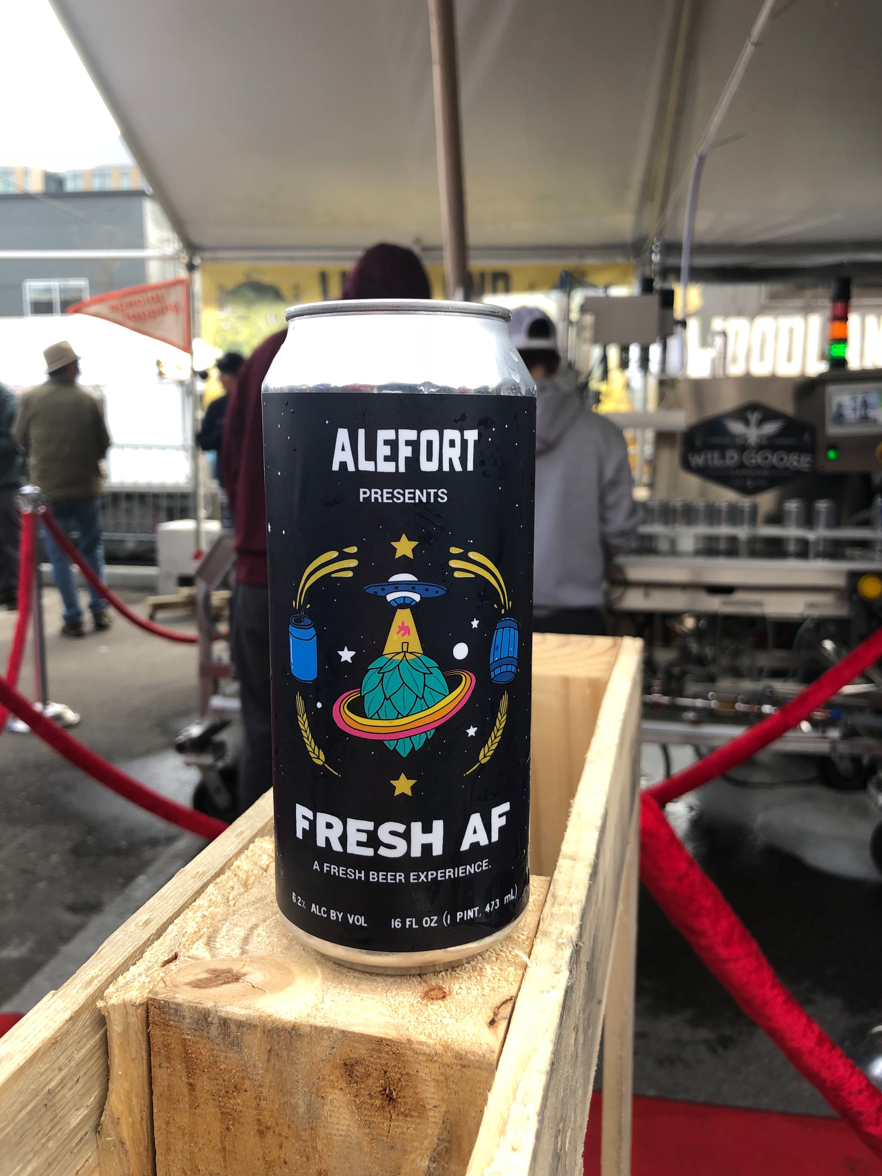 A can of Fresh AF from Woodland Empire Ale Craft at Alefort.