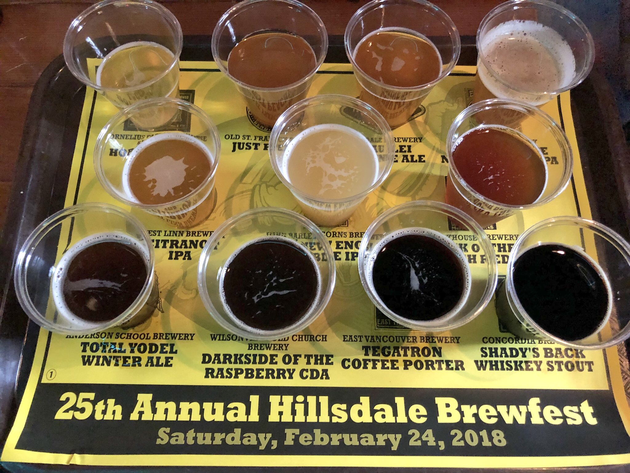A look at the Yellow Taster Tray of beers at the 2018 McMenamins Hillsdale Brew Fest.