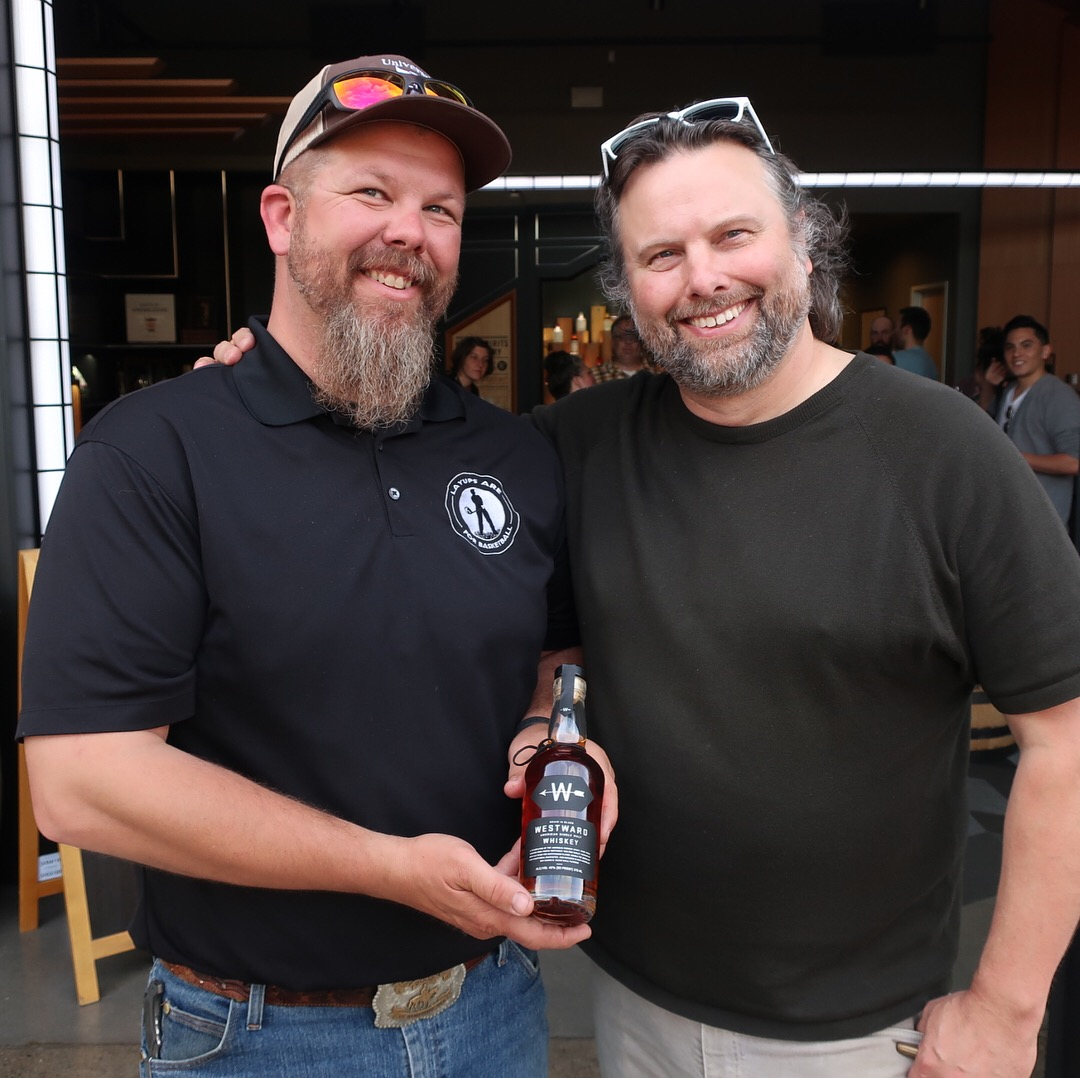 Christian Krogstad on the right with Zach Christensen, a barley farmer that grew the barley for this limited release Westward Oregon Straight Malt Whiskey.