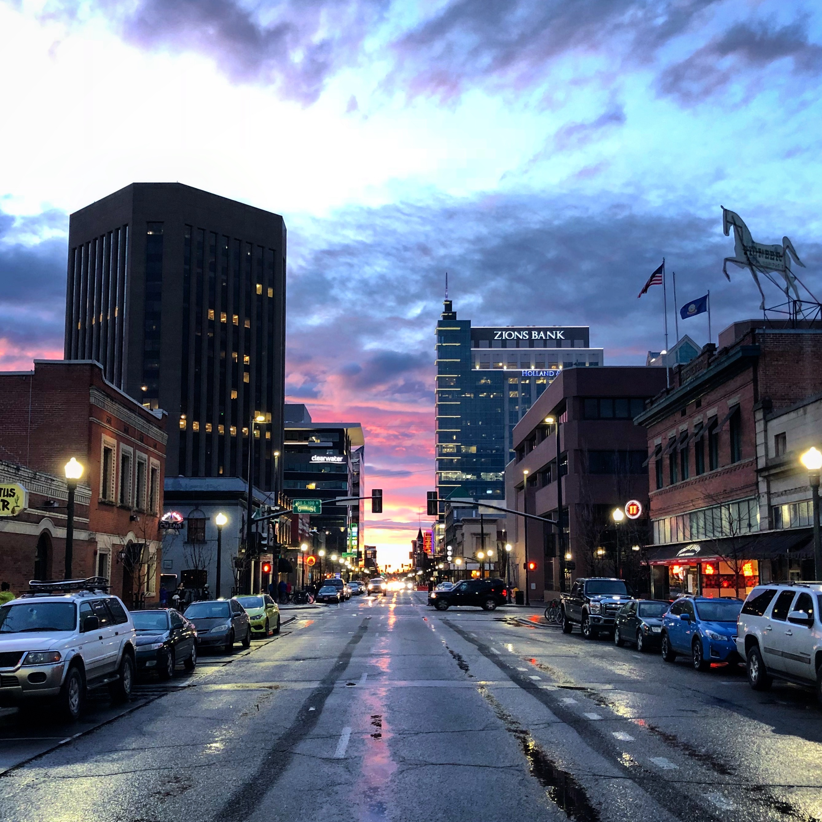 Downtown Boise after a heavy rain shower.