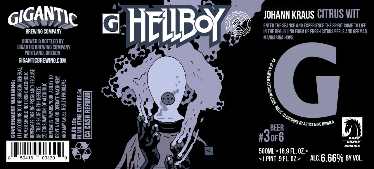 Gigantic Brewing Hellboy Johann Kraus Citrus Wit Beer Label