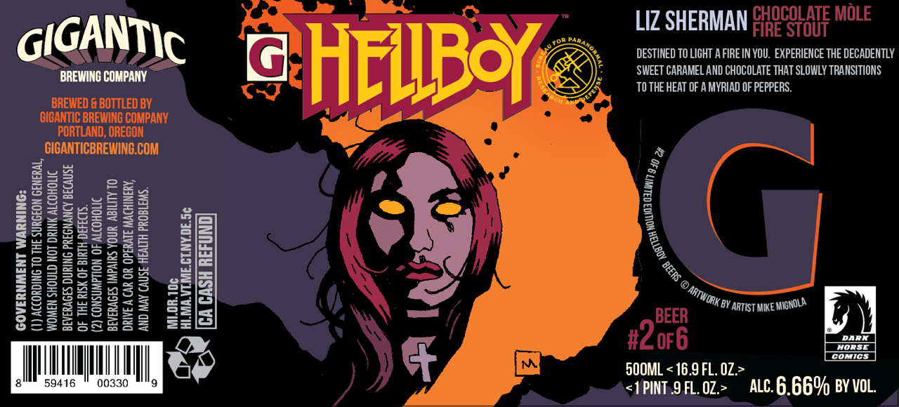 Gigantic Brewing Hellboy Liz Sherman Chocolate Mole Fire Stout Beer Label