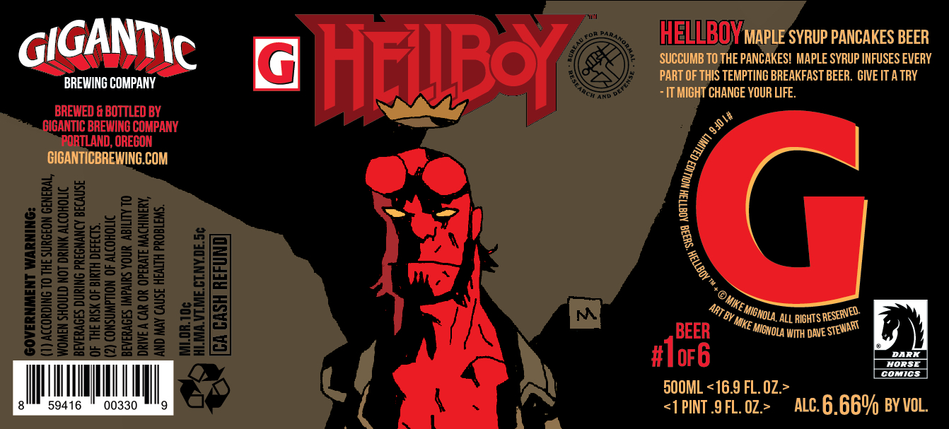 Gigantic Brewing Hellboy Maple Syrup Pancakes Beer Label