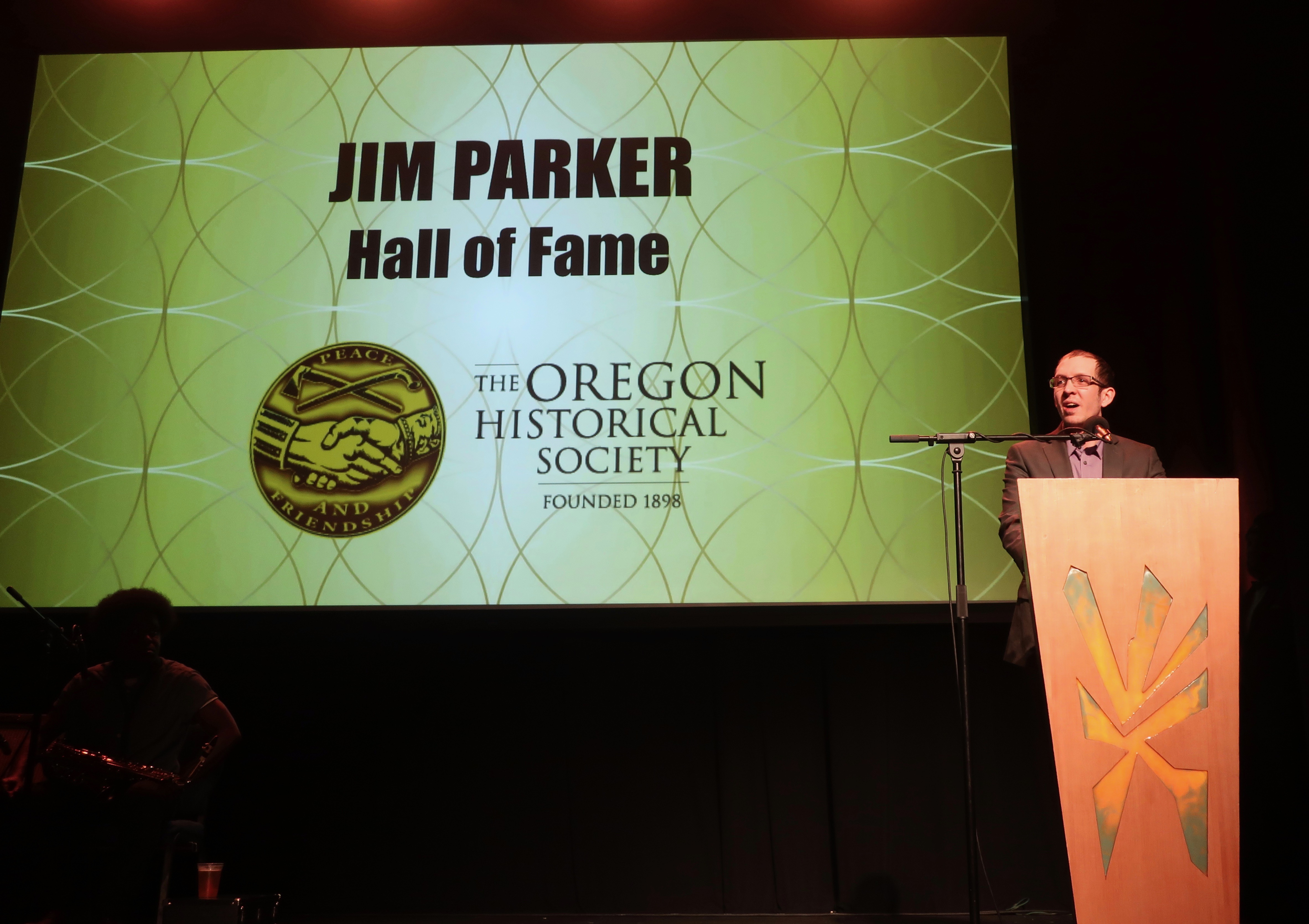 Joel Parker, the son of the late Jim Parker accepting his father's Oregon Beer Hall of Fame award at the 2019 Oregon Beer Awards.