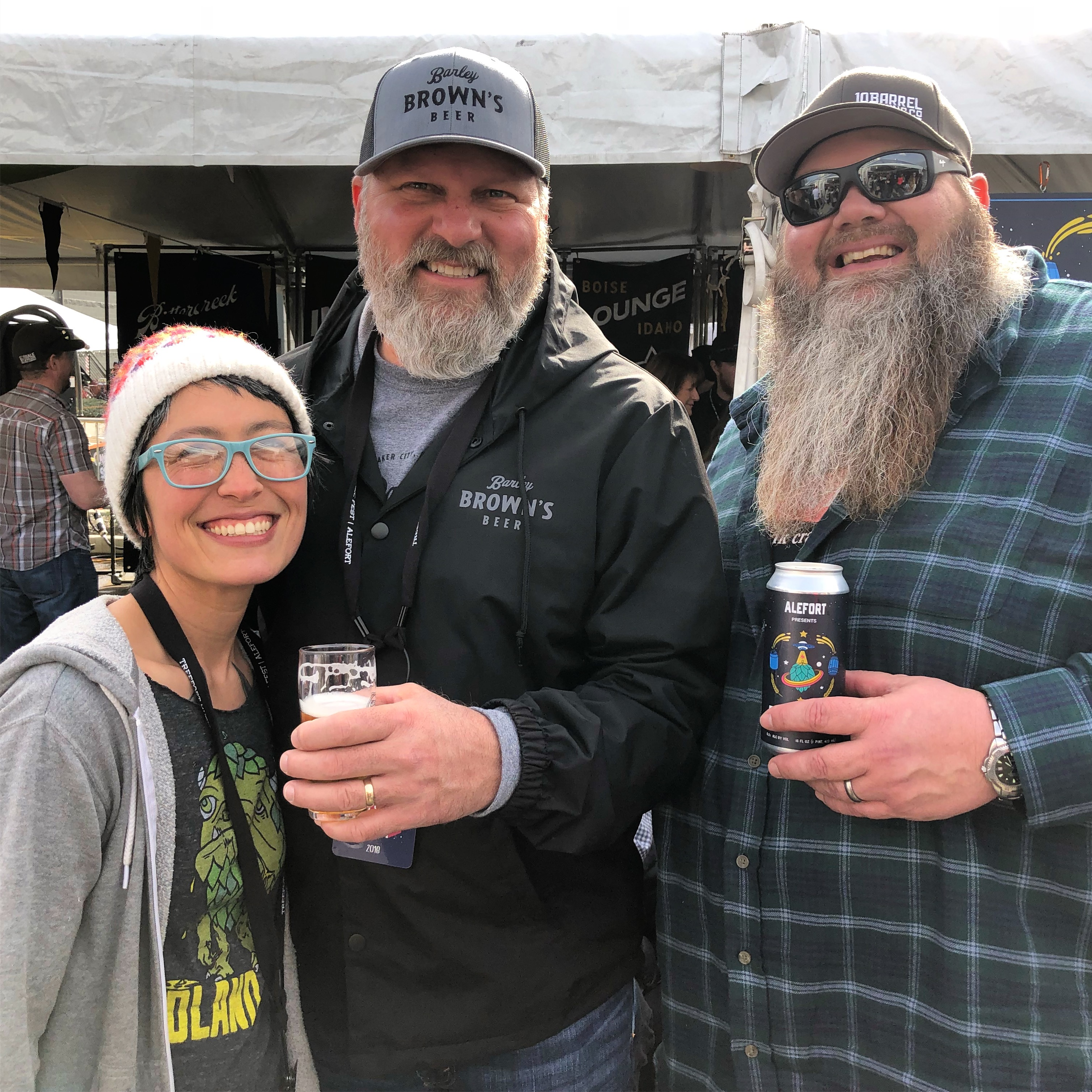 Keely Landerman from Woodland Empire Ale Craft, Tyler Brown from Barley Brown's and Shawn Kelso from 10 Barrel Brewing during the 2018 Alefort.