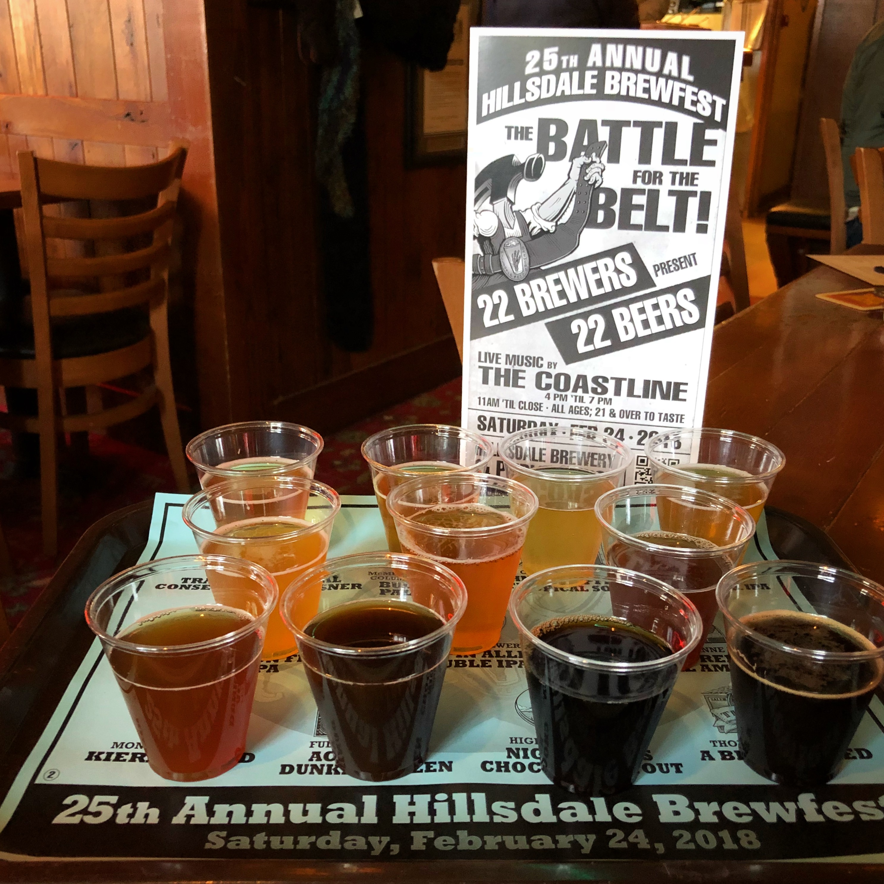 McMenamins annual Battle for the Belt and its one of two 11 beer taster trays.