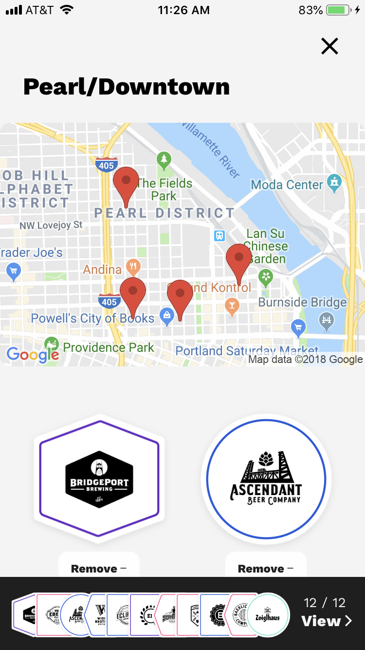 Passport on Tap - Pearl:Downtown map of participating breweries.