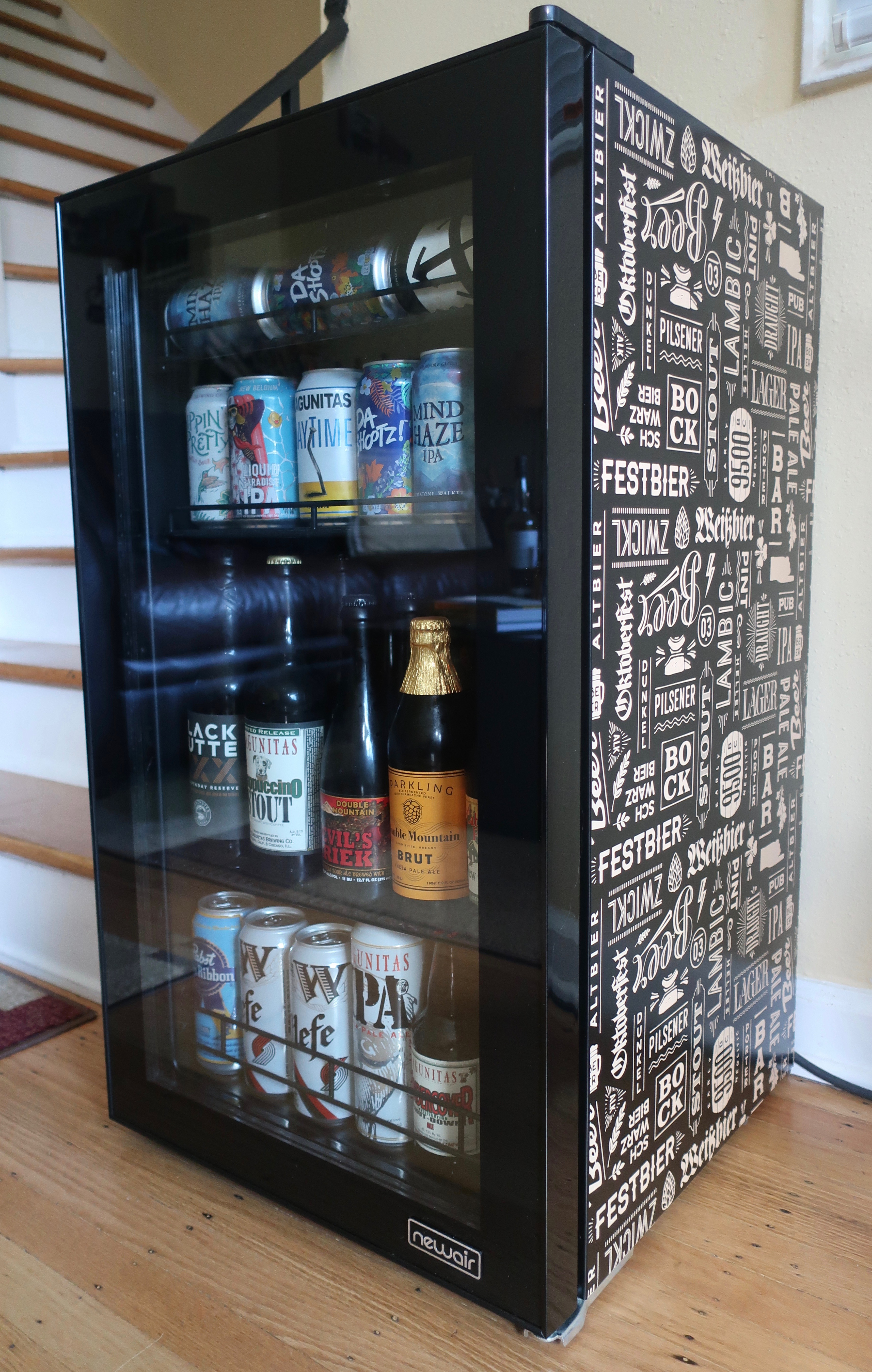The NewAir Beers of the World Custom Beer Fridge is a great addition to keep your beers chilled.
