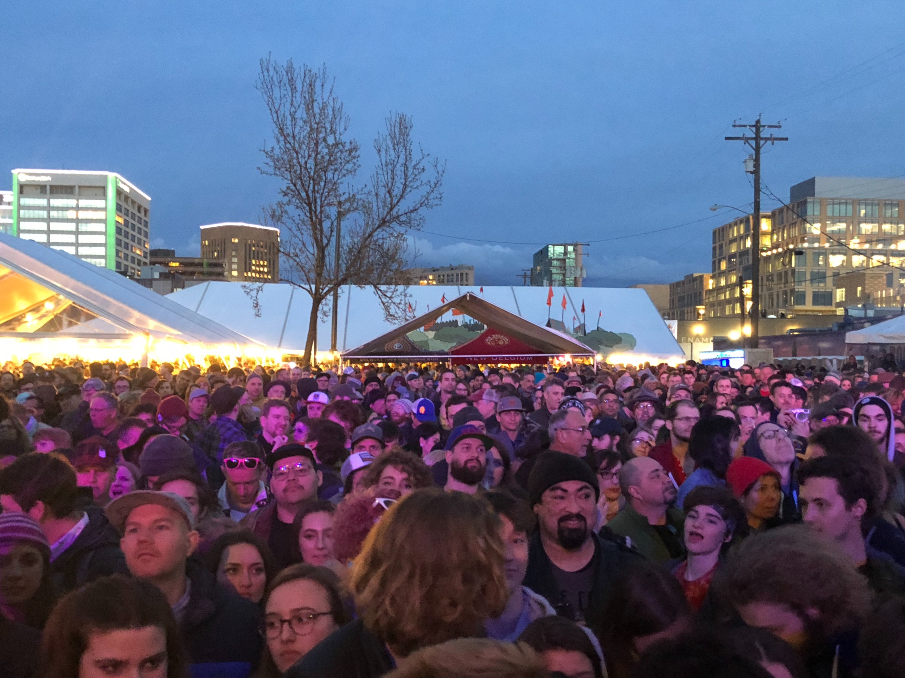 The crowd at Treefort waiting for George Clinton and Parliament Funkadelic.