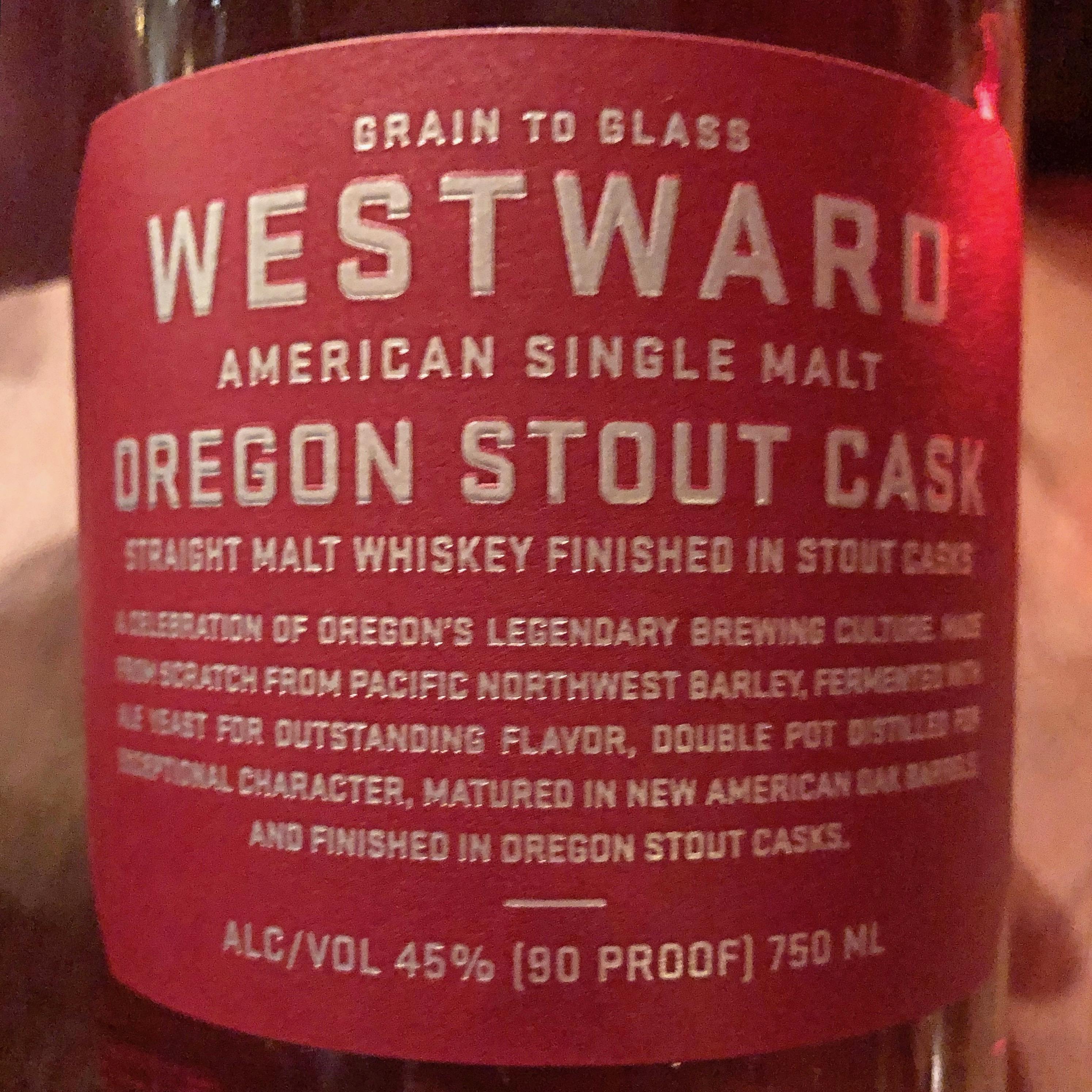 The label of the new Westward American Single Malt Oregon Stout Cask.