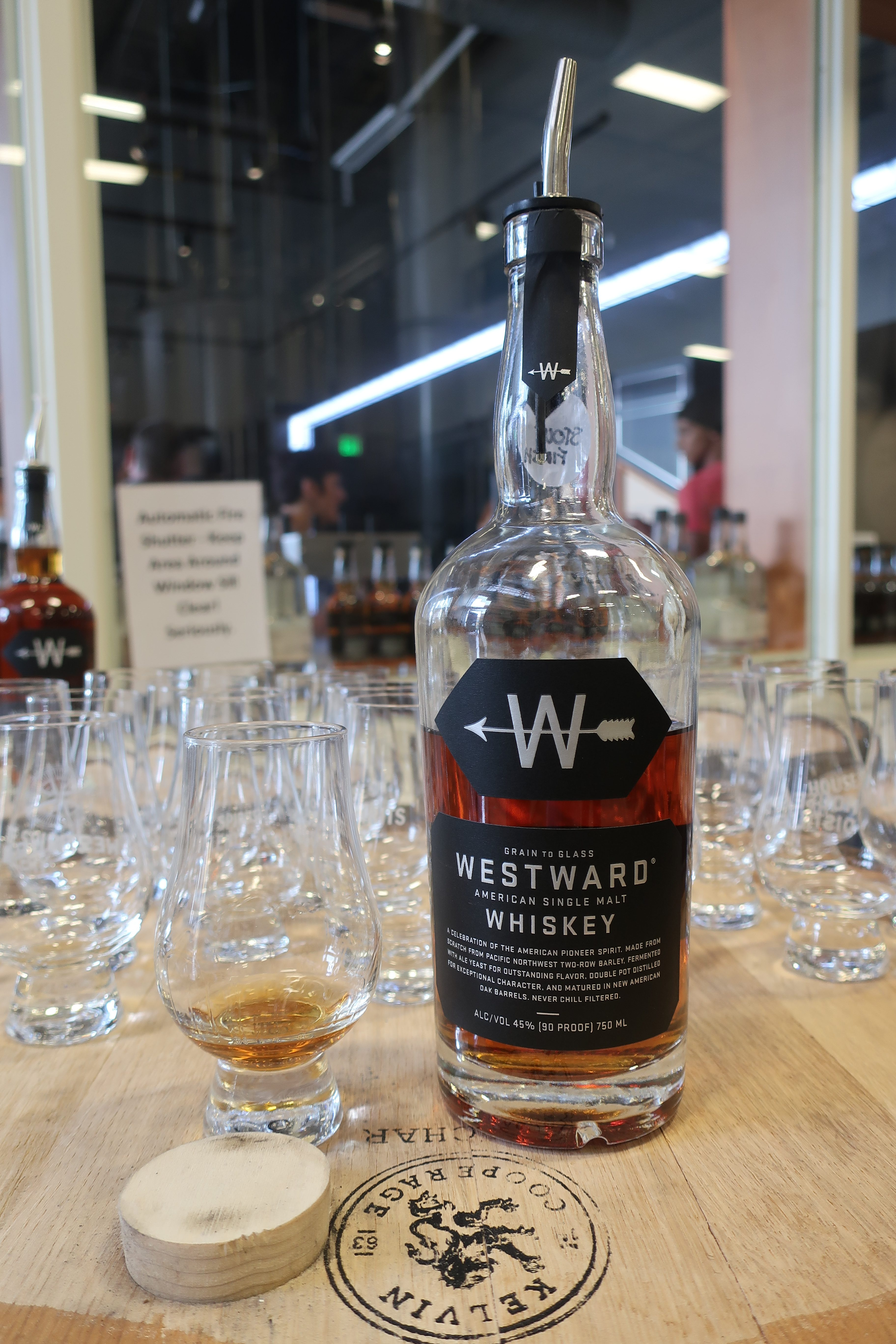 Westward American Single Malt Whiskey during a recent tour of the distillery.