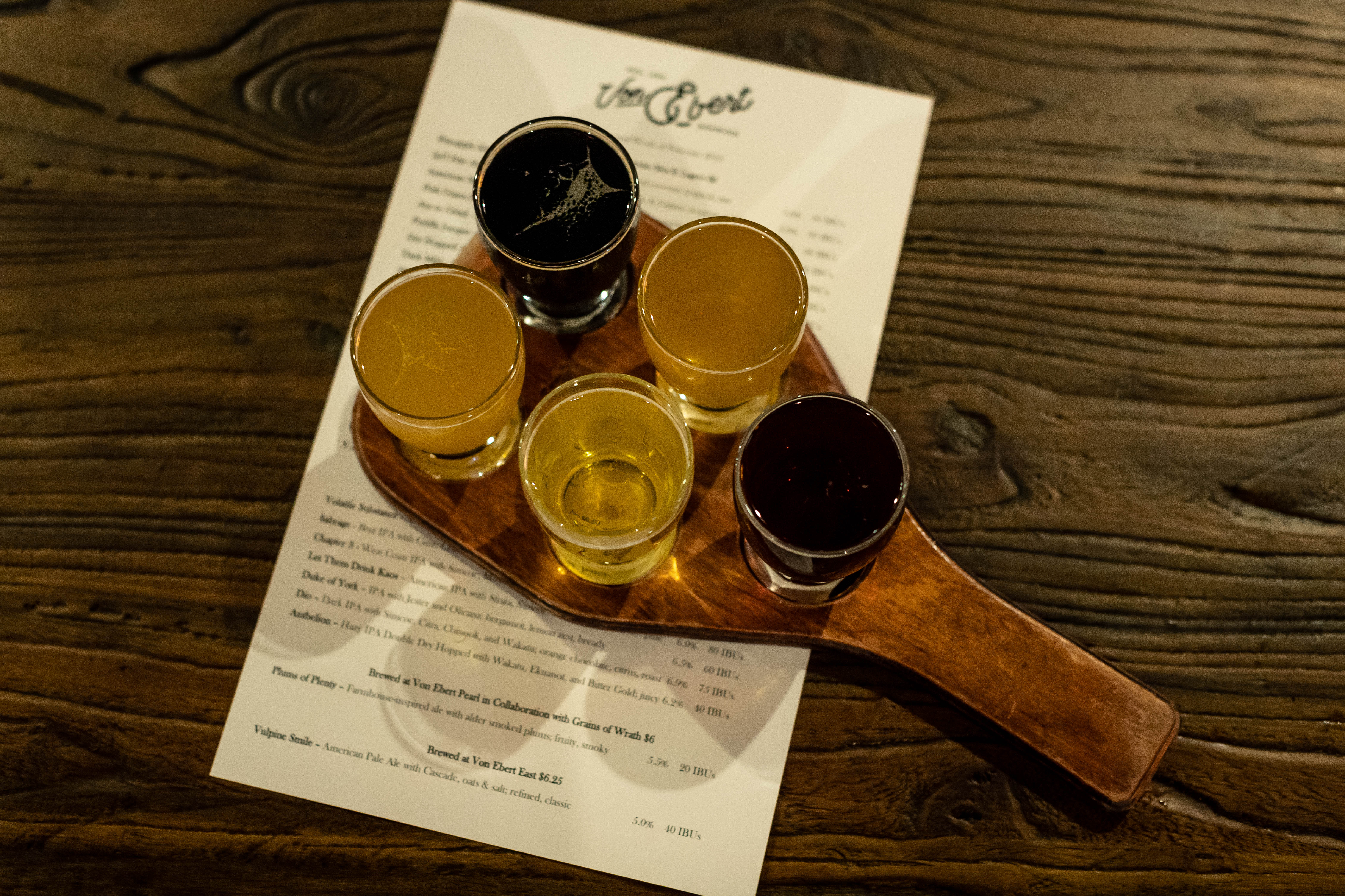 A taster tray of beer. (image courtesy of Von Ebert Brewing)