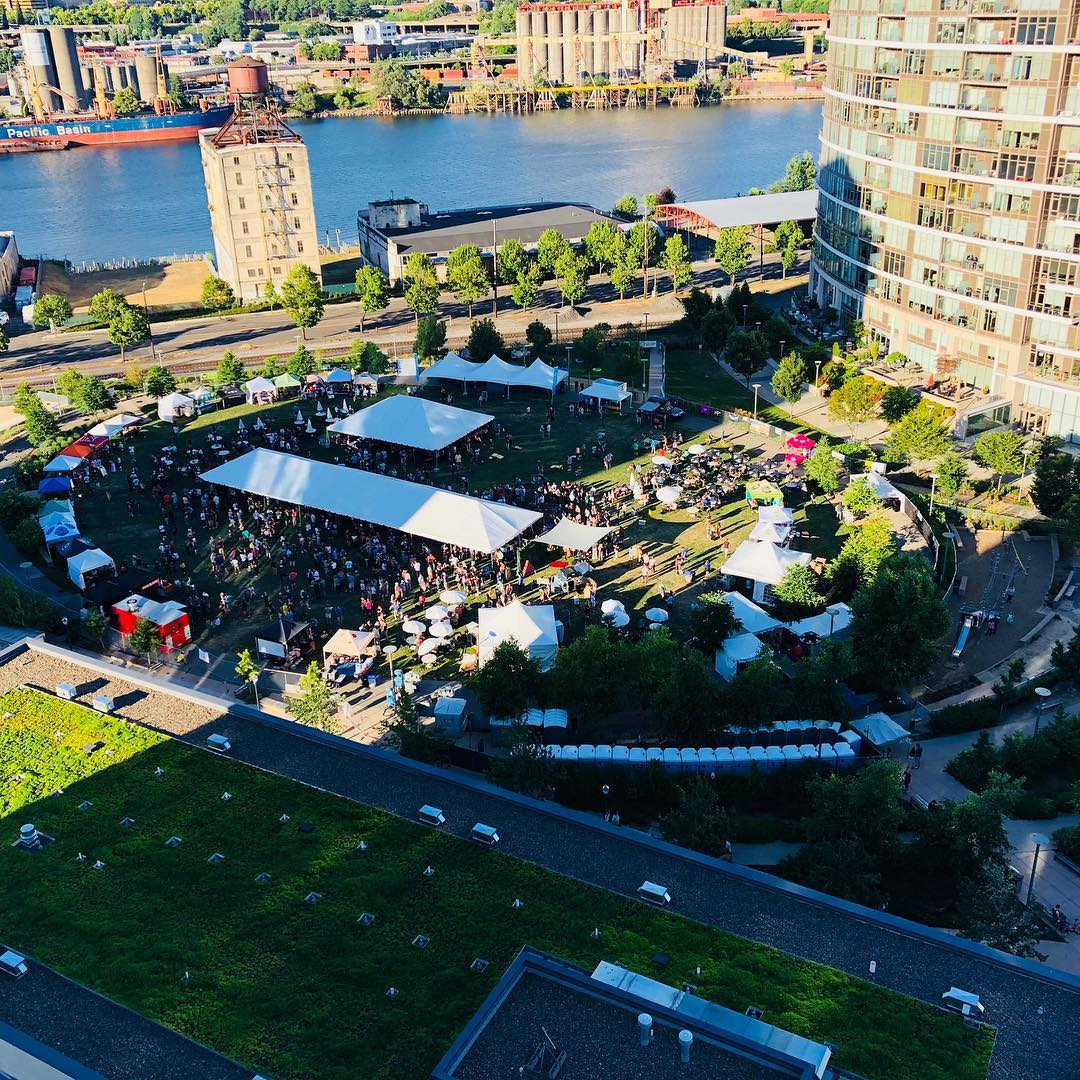 A view from overhead of the Portland Craft Beer Festival inside The Fields Park. (image courtesy of the Portland Craft Beer Festival)