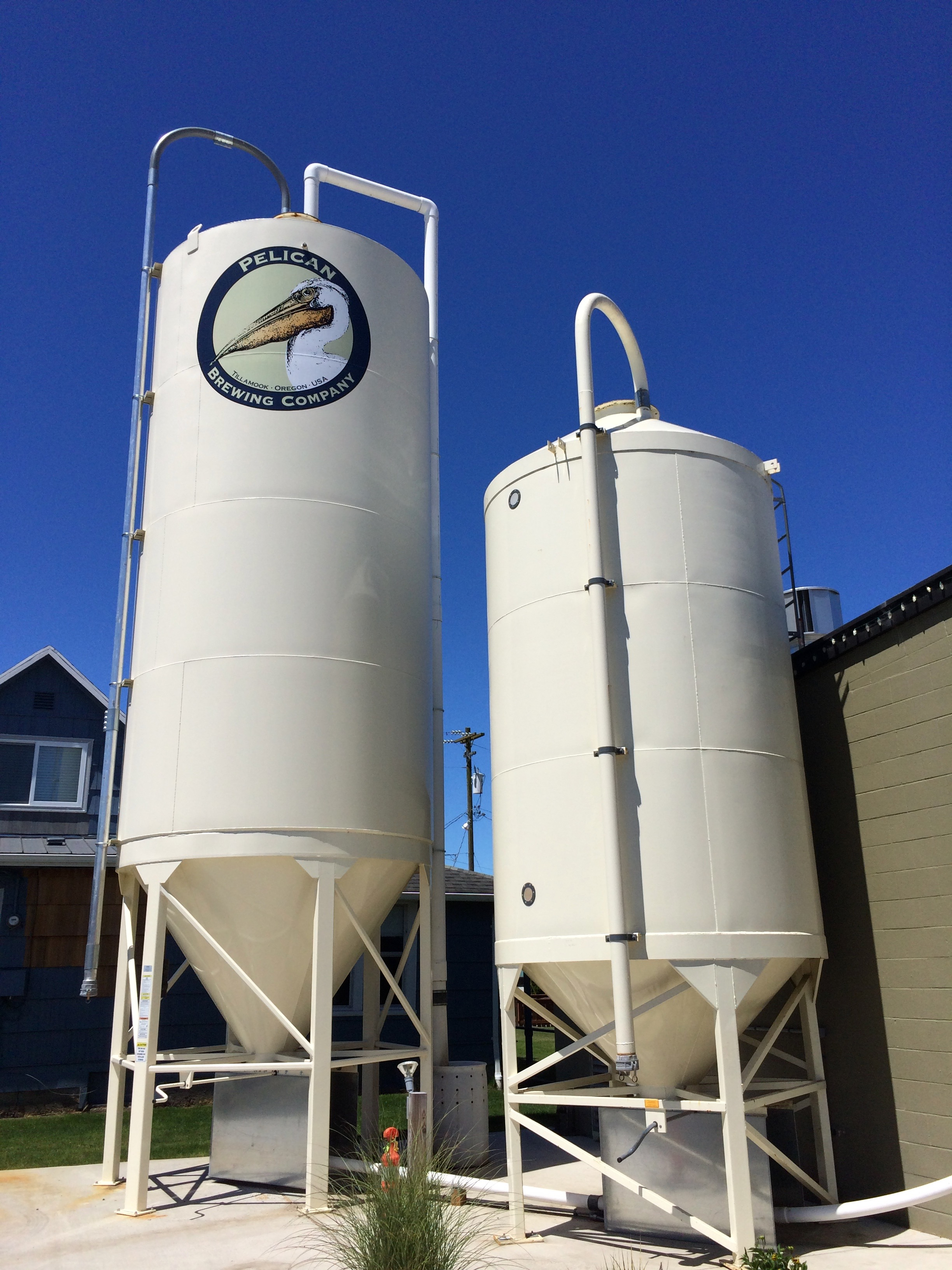 Grain silos at Pelican Brewing in Tillamook, Oregon.