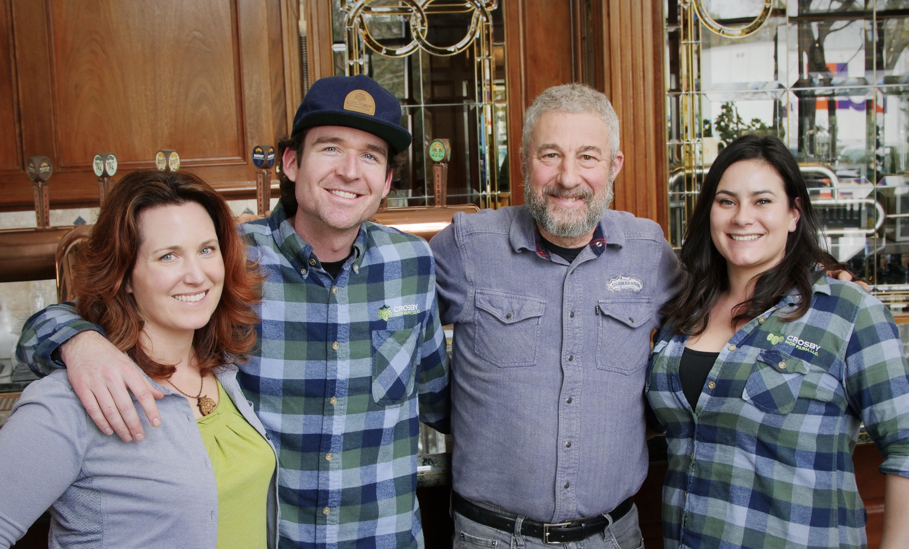 Heather Sorensen, Zak Schroerlucke, Ken Grossman and Kate Belanger at Sierra Nevada Brewing. (image courtesy of Crosby Hop Farm)