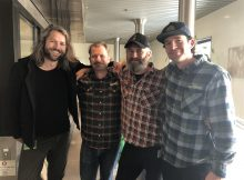From left, Jos Ruffell - Garage Project, Isaiah Mangold - Sierra Nevada Brewer, Pete Gillespie - Garage Project, and Zak Schroerlucke - Crosby Hop Farm collaborating on a beer for the 2019 Craft Brewers Conference. (image courtesy of Crosby Hop Farm)