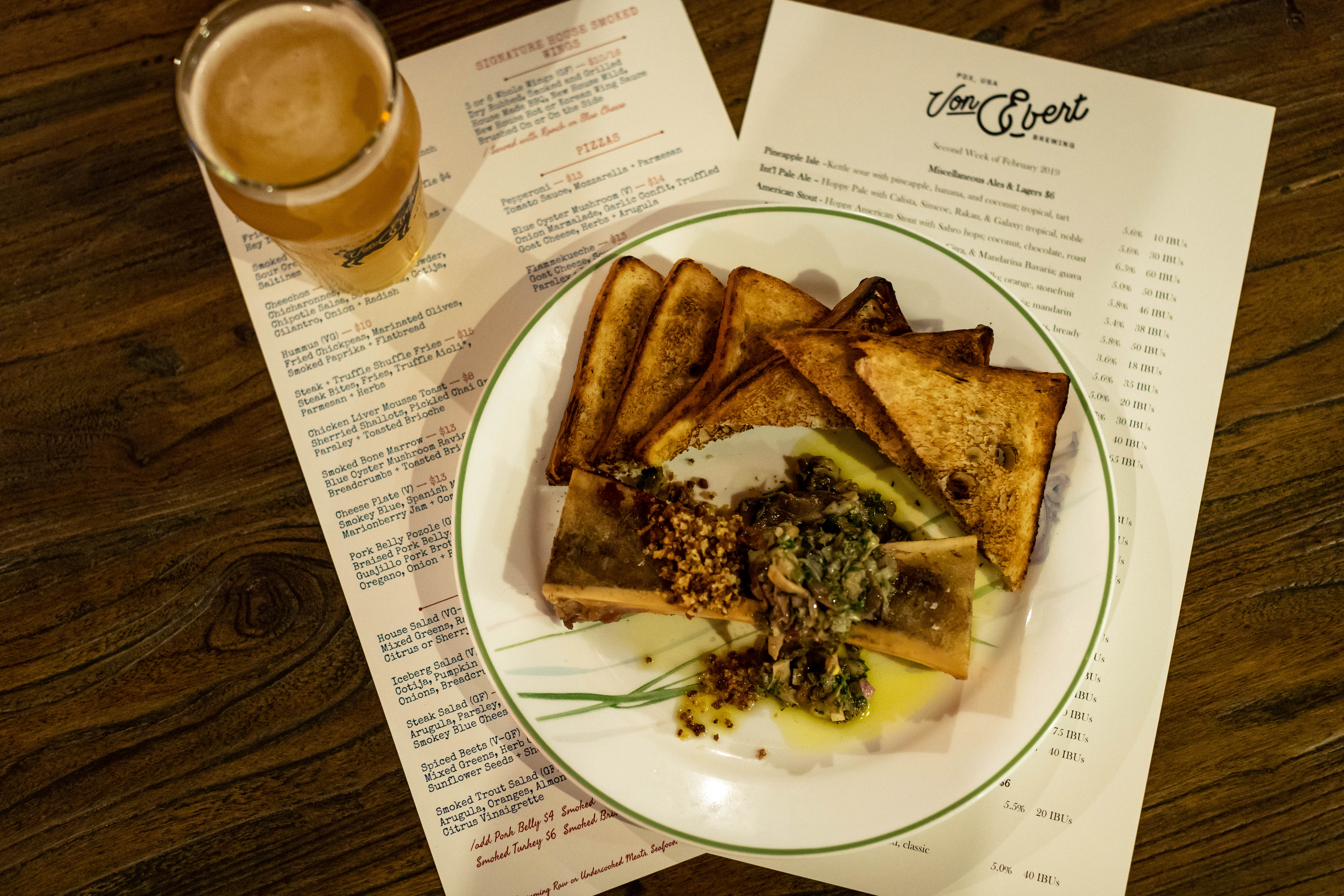 The food and beer menu at Von Ebert Brewing. (image courtesy of Von Ebert Brewing)