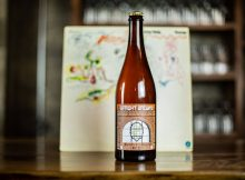 image of Upright Brewing's 10th Anniversary Saison in a 750mL bottle courtesy of Upright Brewing