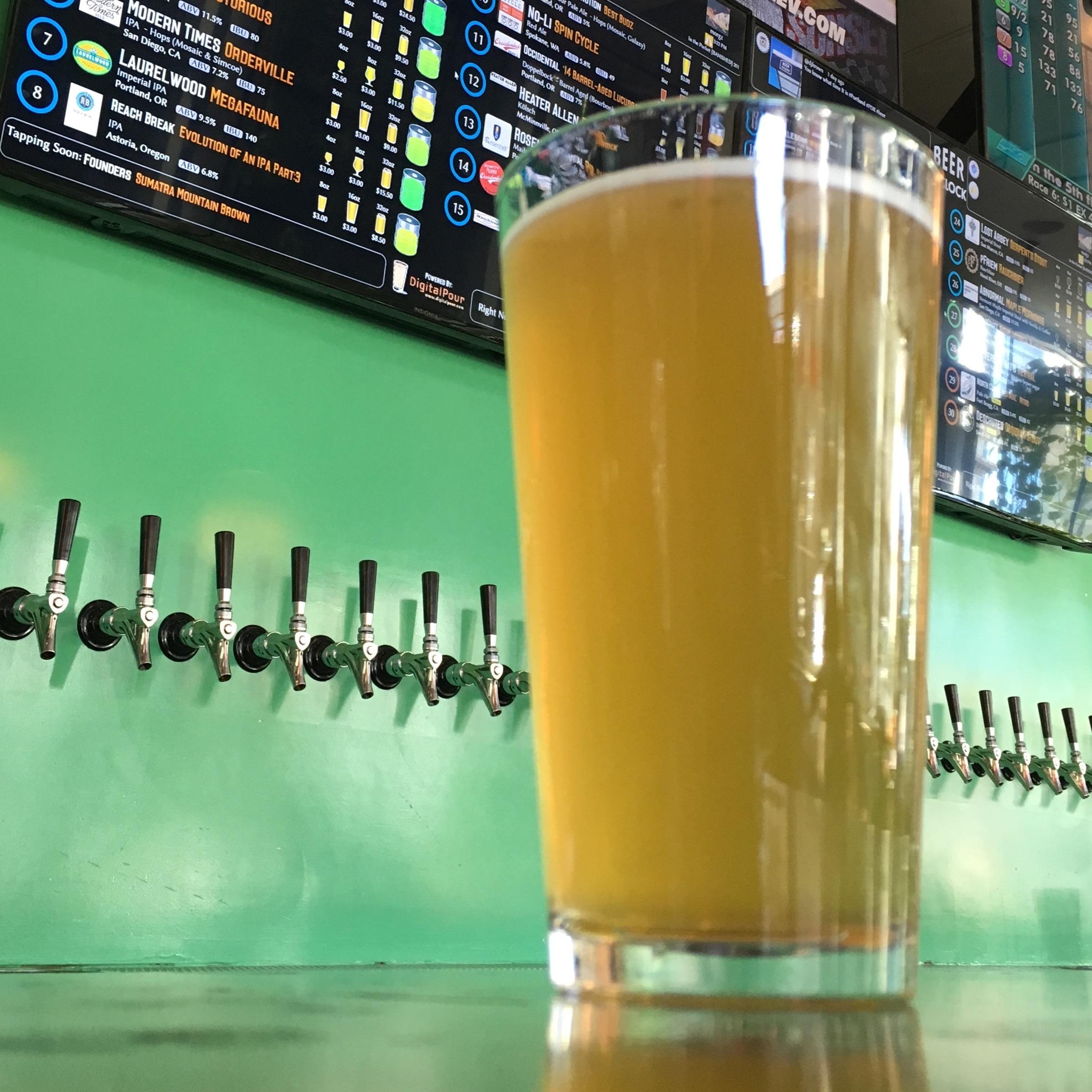 A pint of beer at Beer O'Clock.
