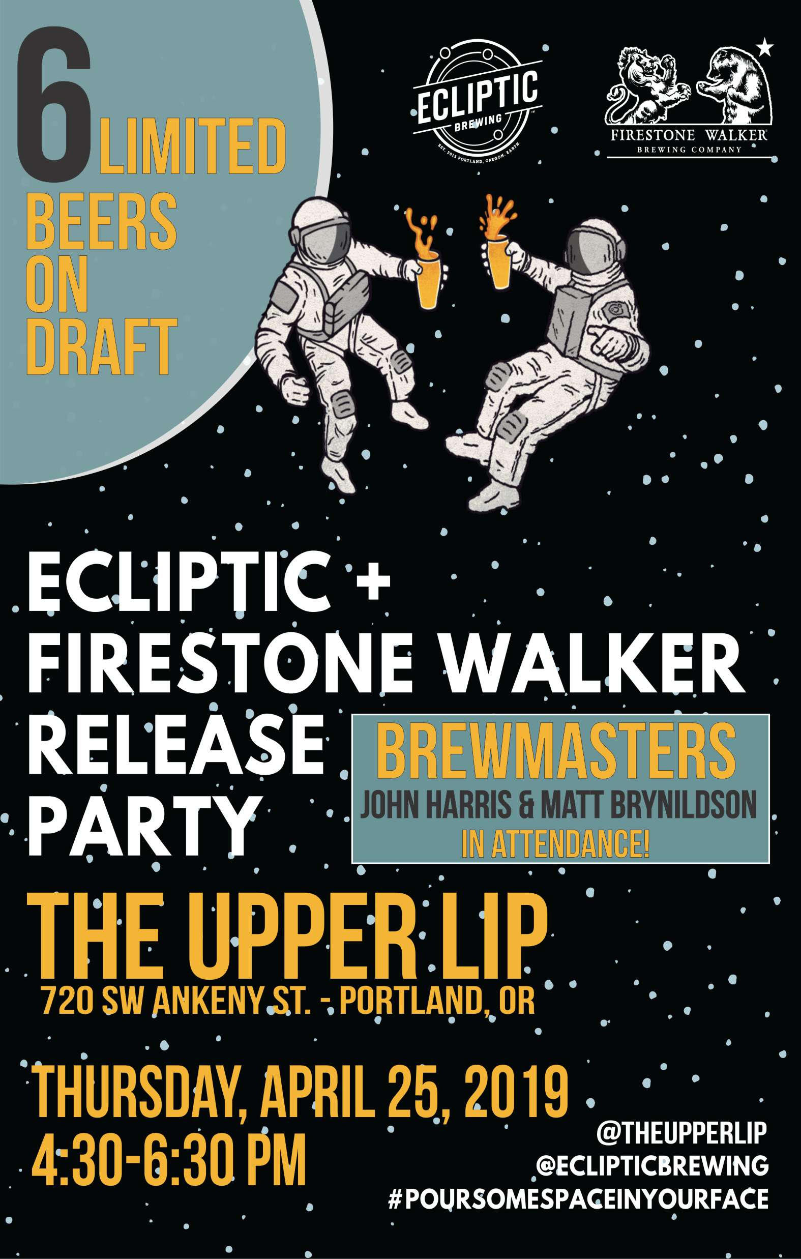 Ecliptic Brewing + Firestone Walker Brewing Cosmic Release Party at The Upper Lip