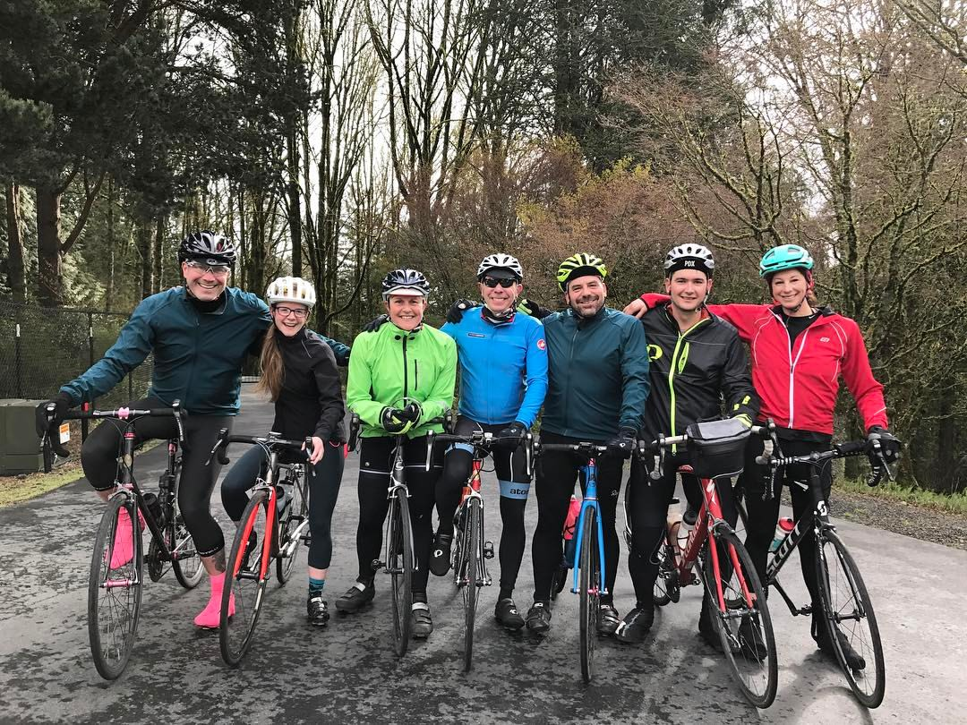 Members of Team Sack Lunch that are part of Chefs Cycle Portland while training during the cooler months. (image courtesy of Chefs Cycle Portland)