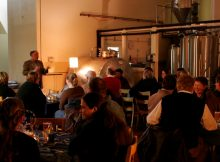 image of a beer dinner alongside the brewhouse courtesy of Chuckanut Brewery