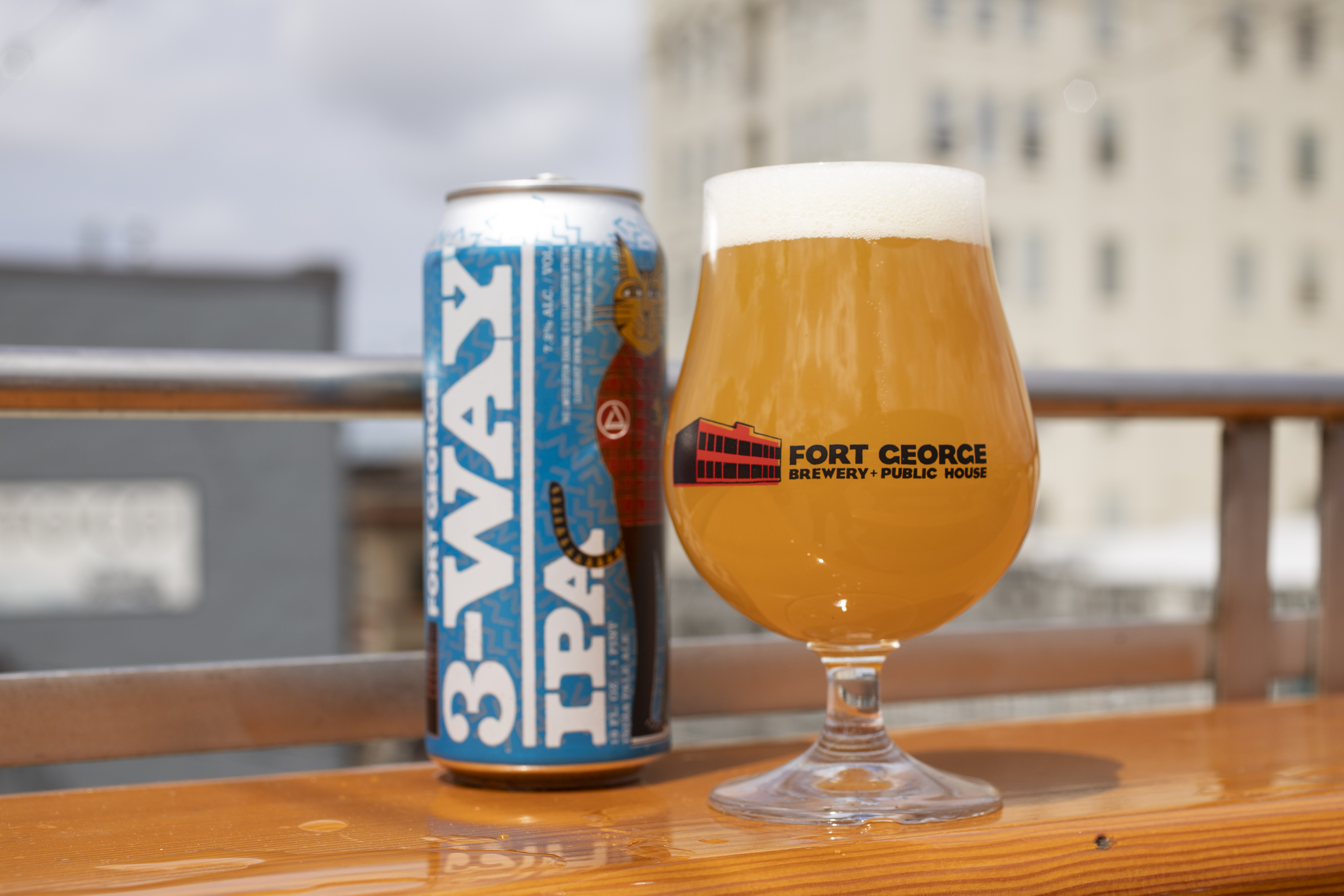 A pour of 2019 3-Way IPA from Fort George Brewery + Ruse Brewing + Cloudburst Brewing. (image courtesy of Fort George Brewery)