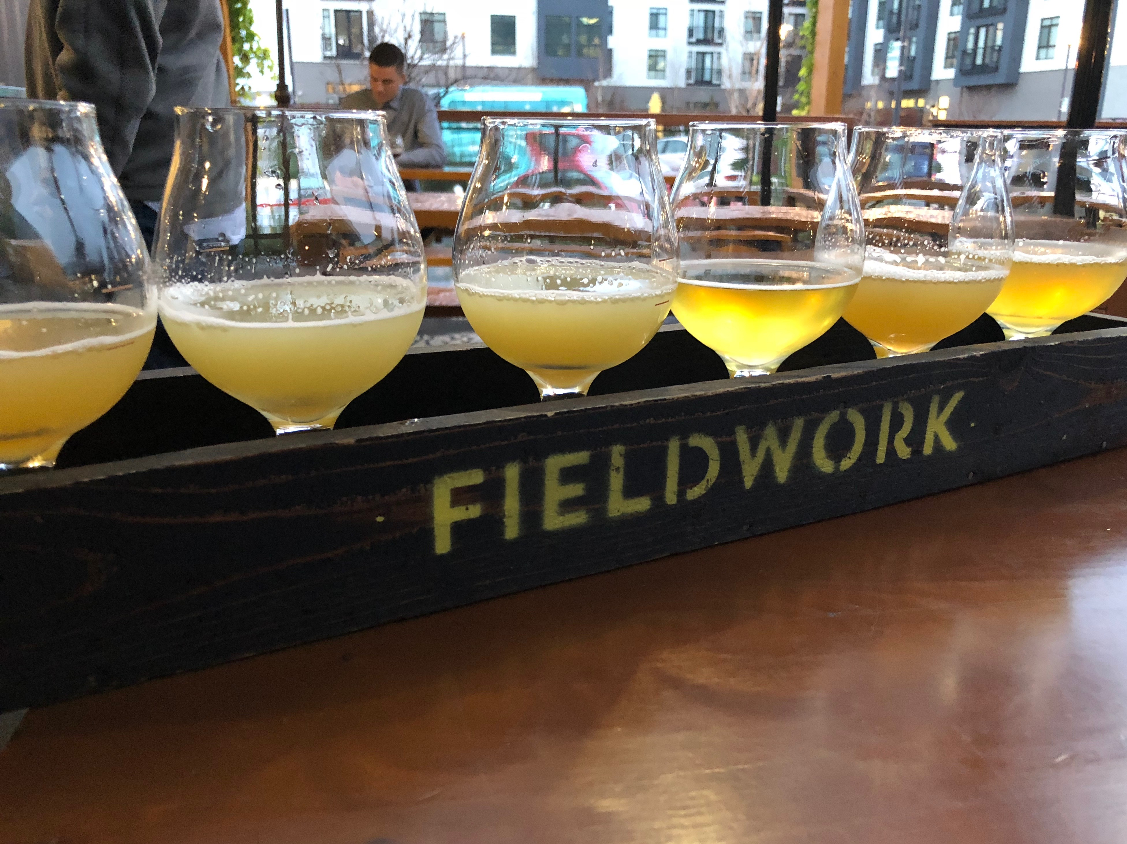A taster tray of Hazy IPA at Fieldwork Brewing in San Mateo, California.