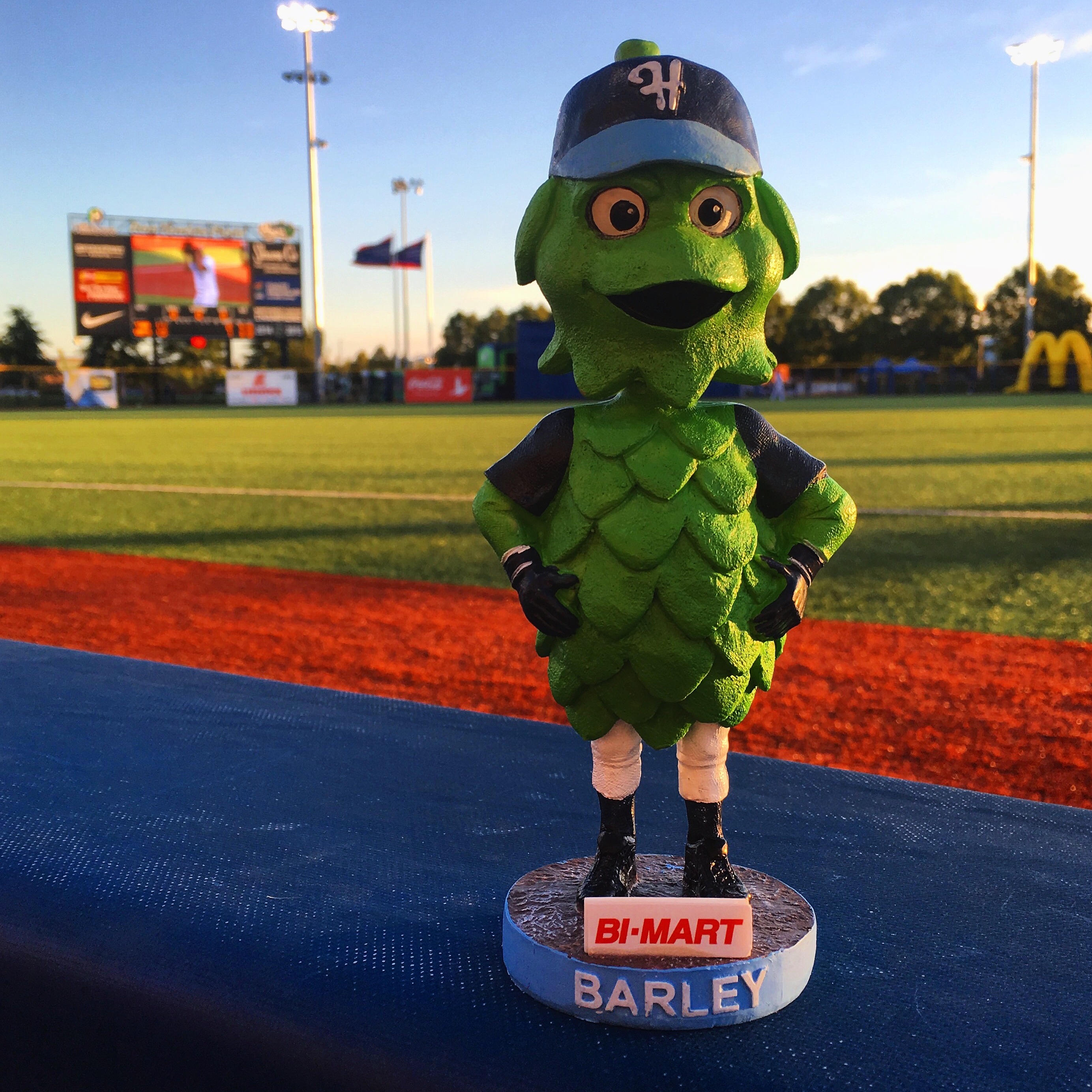 Barley the Hop Bobblehead at Ron Tonkin Field during a Hillsboro Hops ballgame
