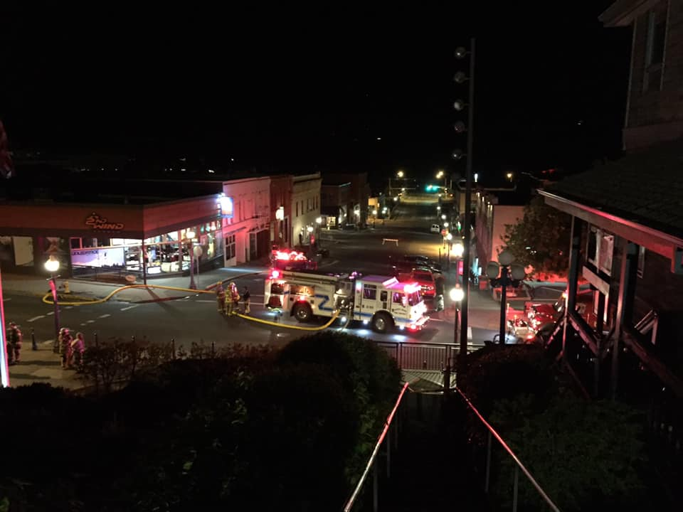 Hood River firefighters fight a fire at Big Horse Brew Pub in downtown Hood River, Oregon. (image courtesy of Hood River Firefighters Local 3256)