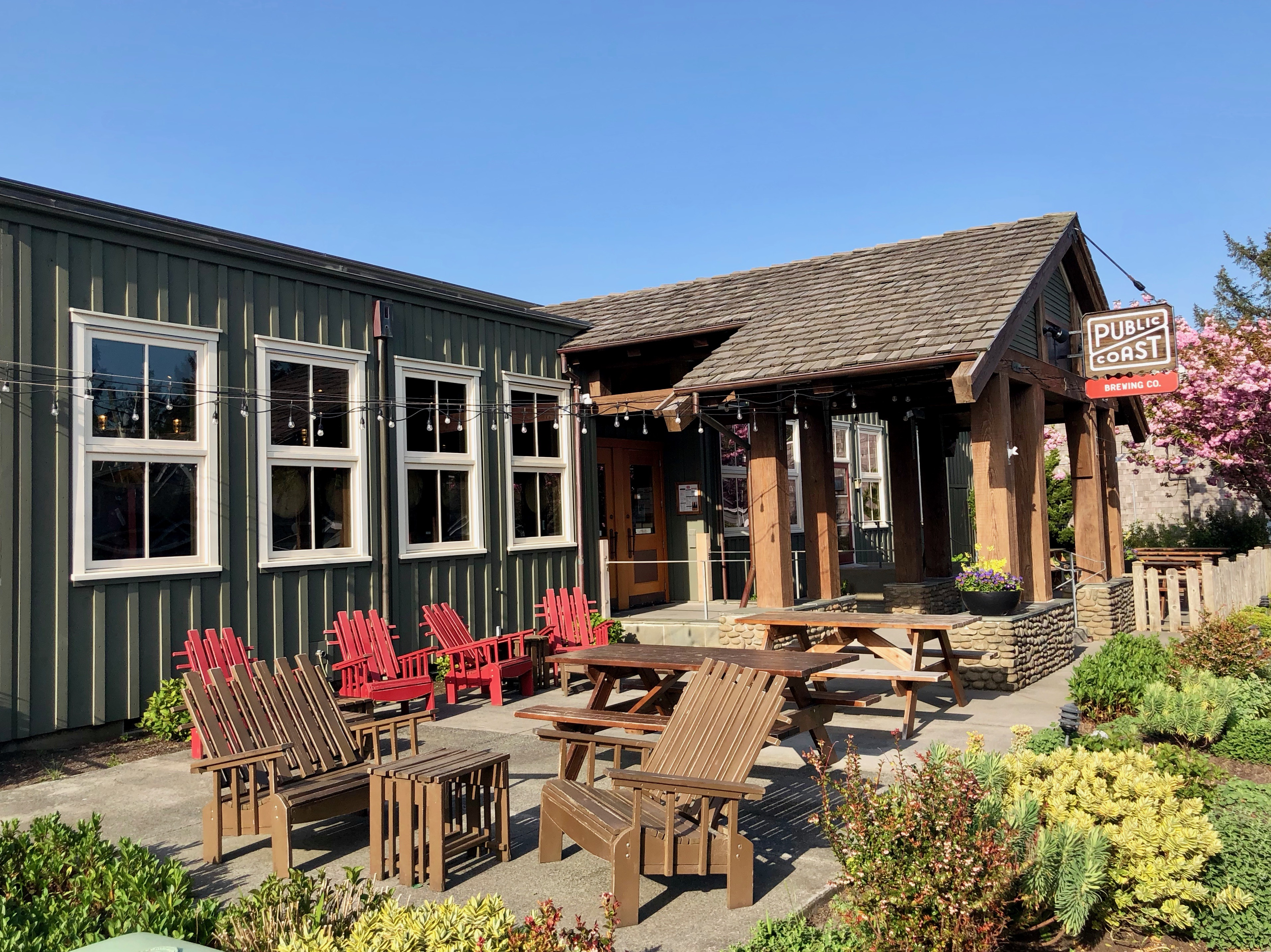 Public Coast Brewing offers a nice outdoor patio in downtown Cannon Beach, Oregon.