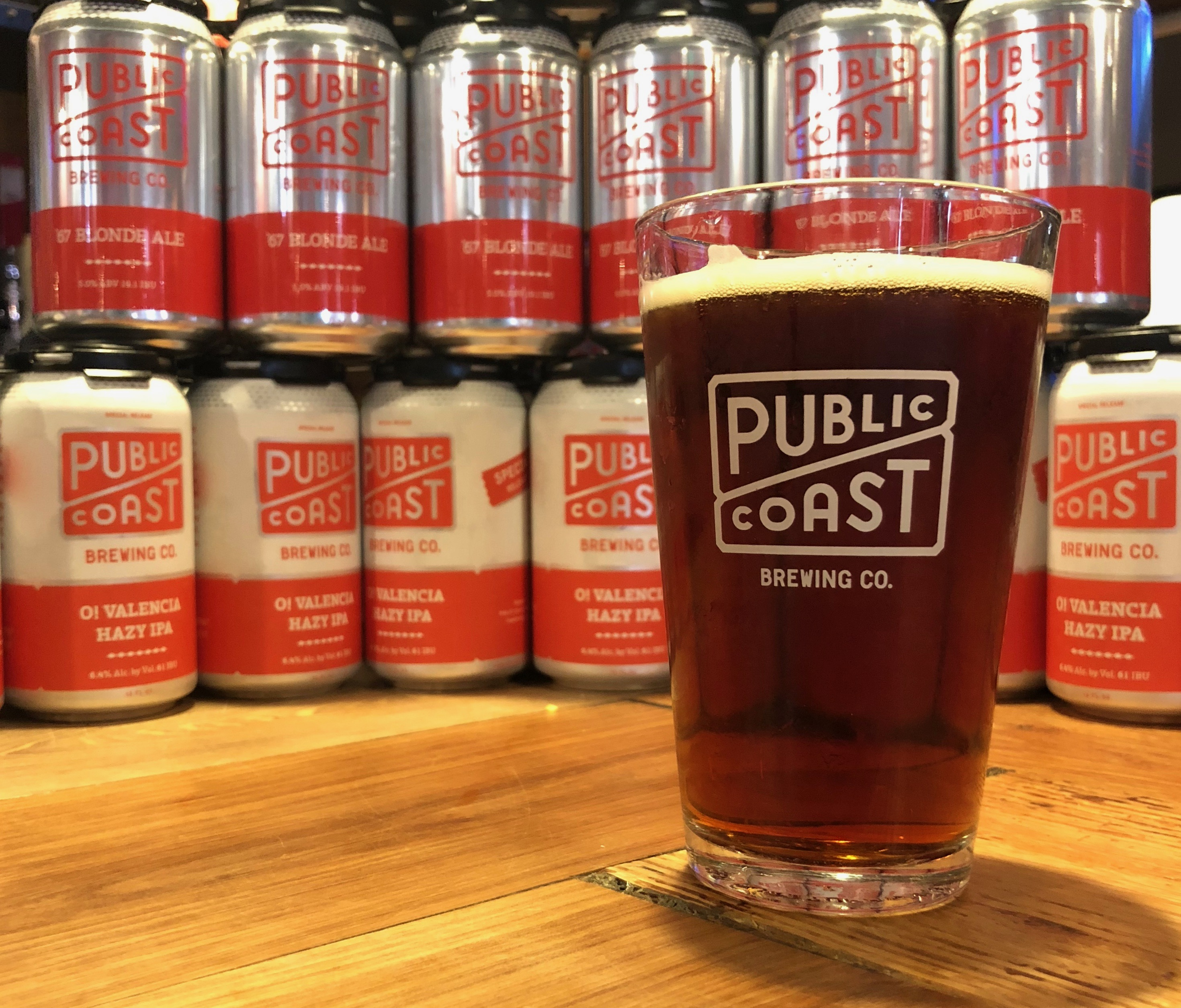 Public Coast Brewing offers an assortment of its beers in cans.