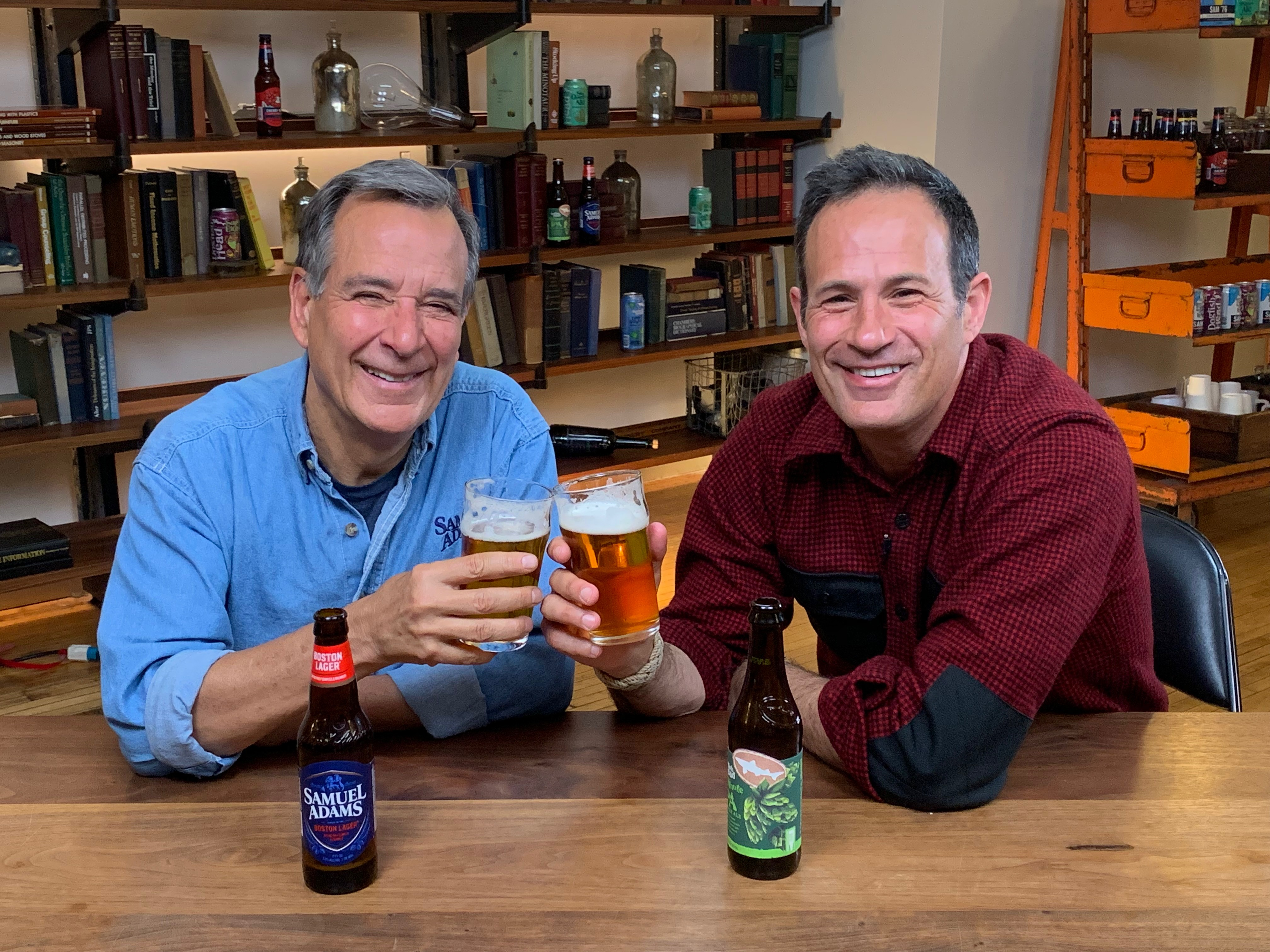 The Boston Beer Company acquires Dogfish Head Brewery. Pictured is Jim Koch and Sam Calagione. (image courtesy of The Boston Beer Co.)