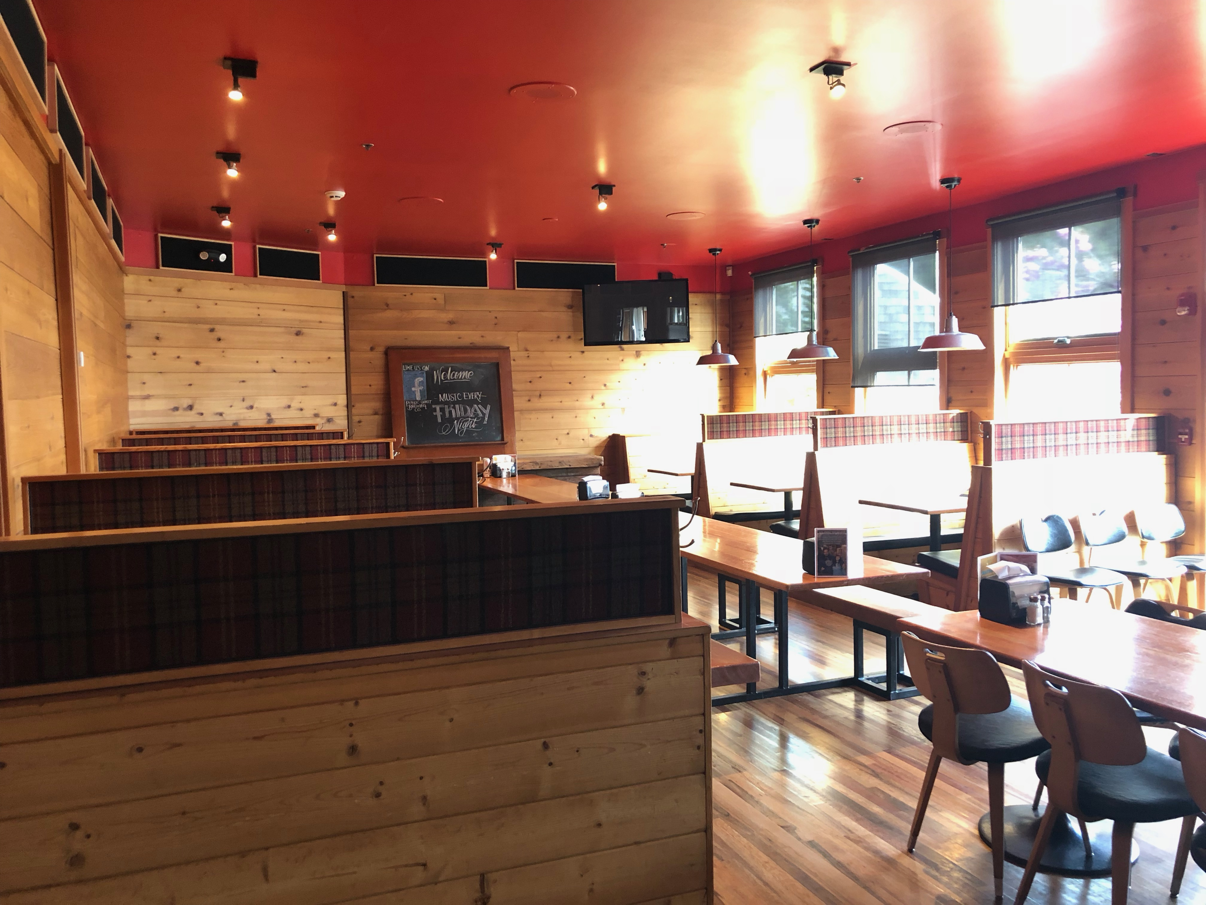 The dining area at Public Coast Brewing.