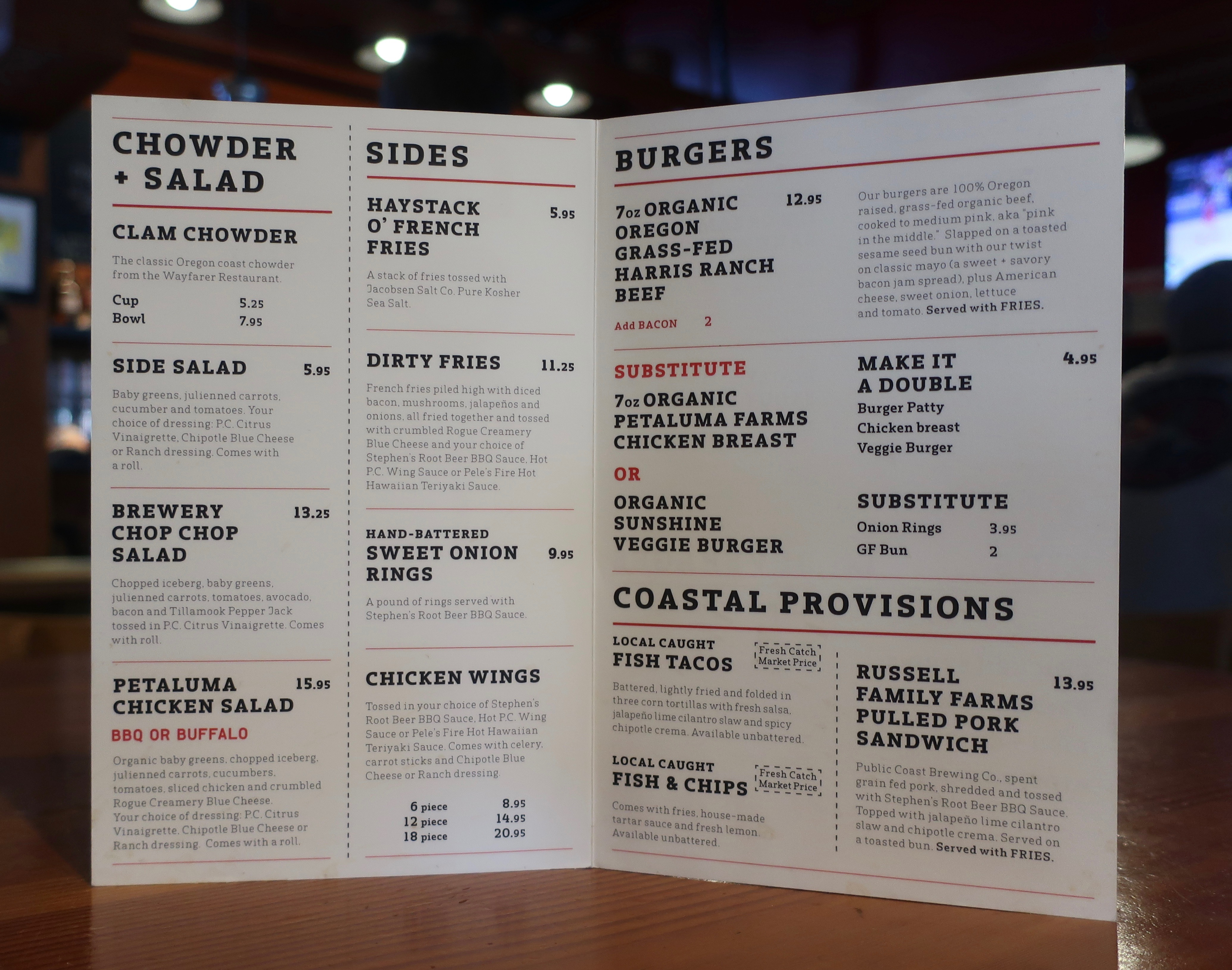 The food menu at Public Coast Brewing.