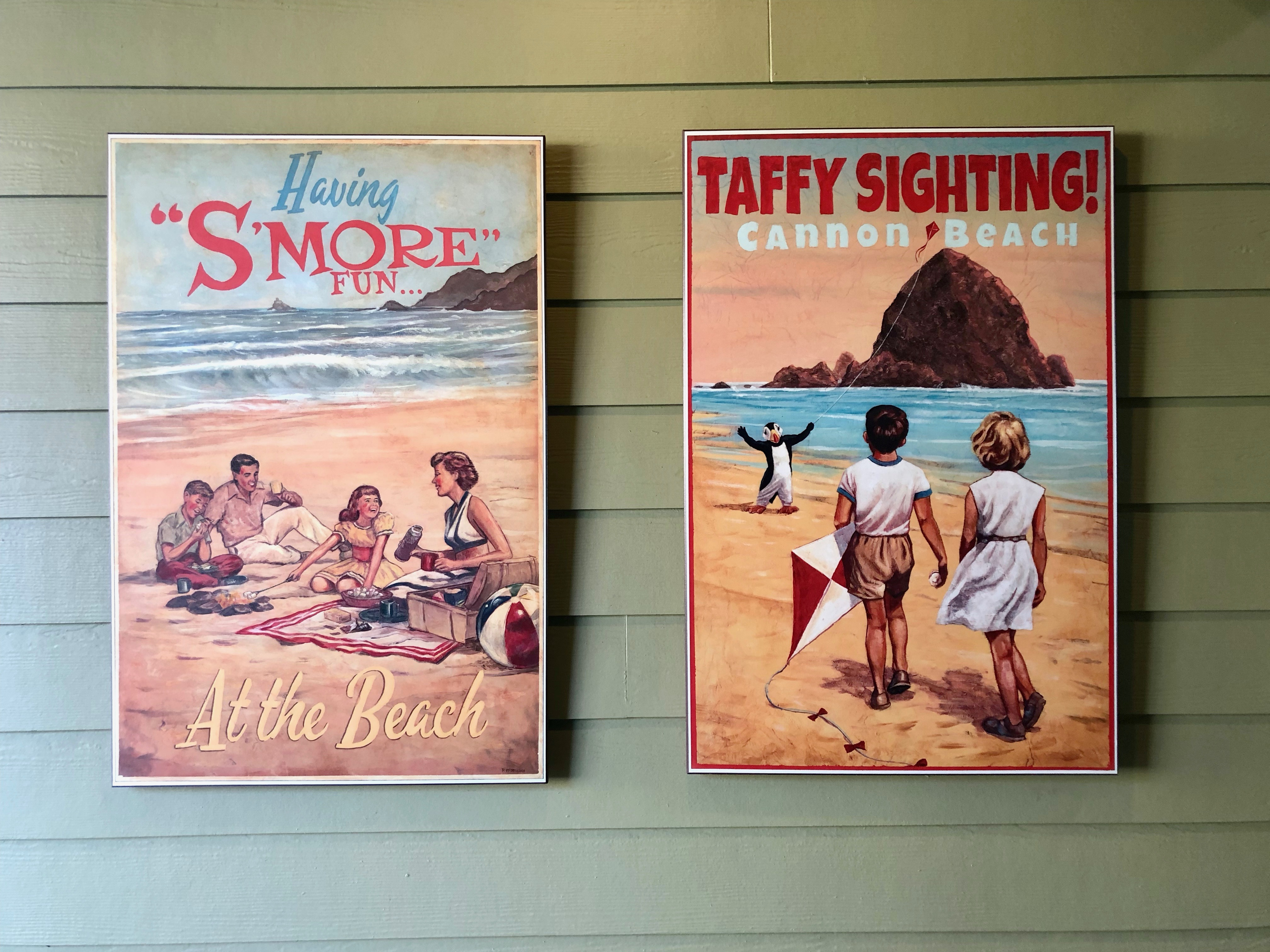 Vintage posters at the Surfsand Resort in Cannon Beach.