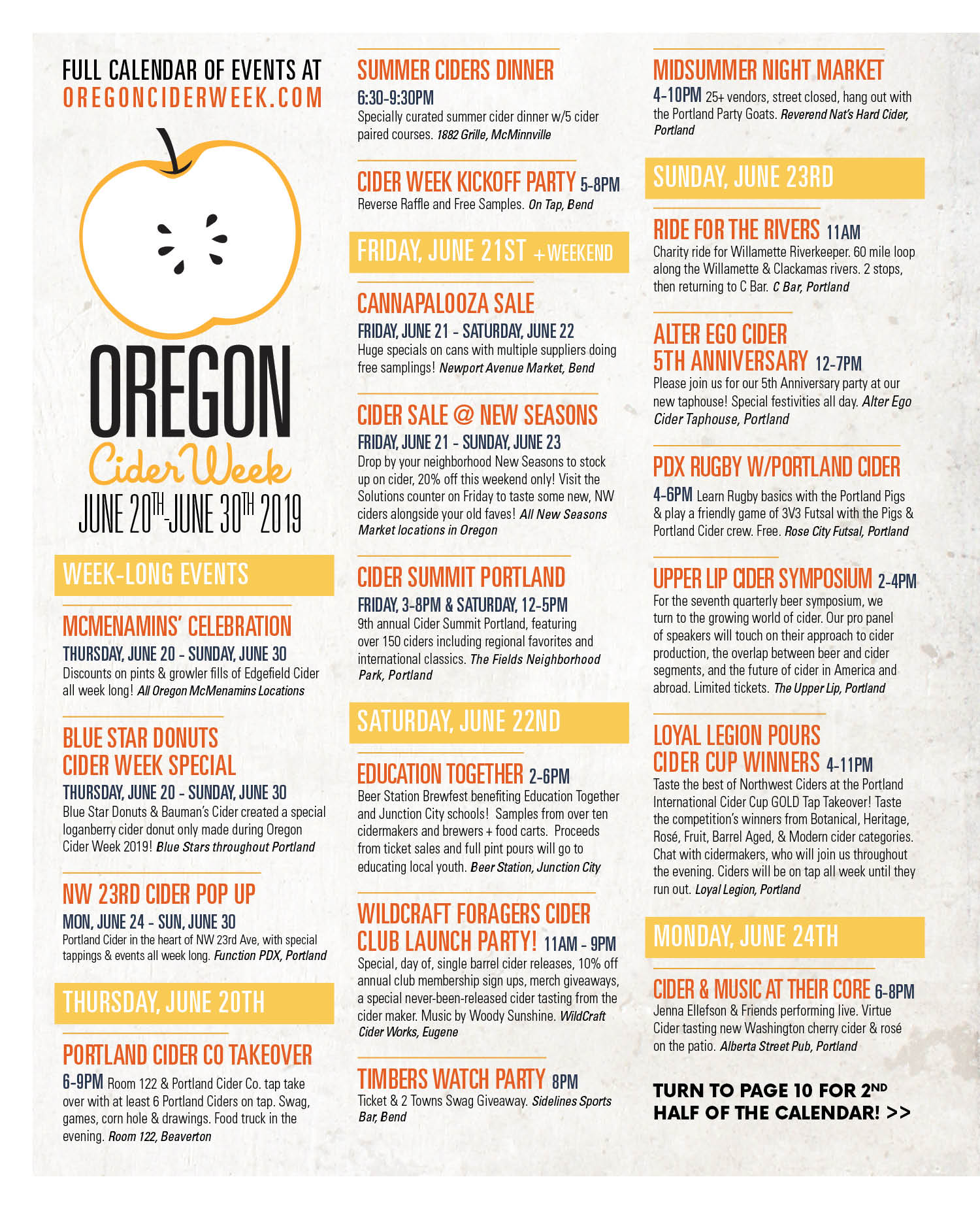 2019 NWCA Oregon Cider Week Calendar of Events Page 1