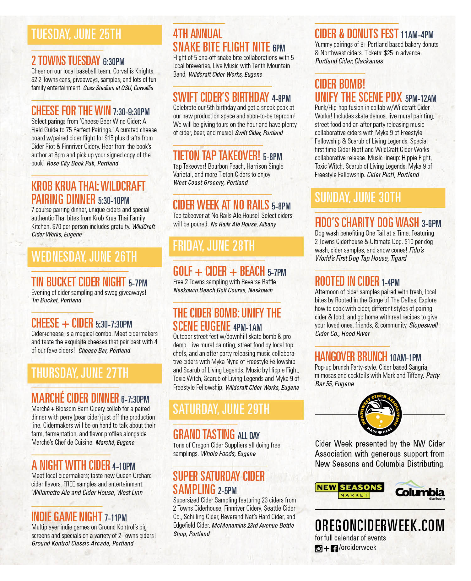 2019 NWCA Oregon Cider Week Calendar of Events Page 2