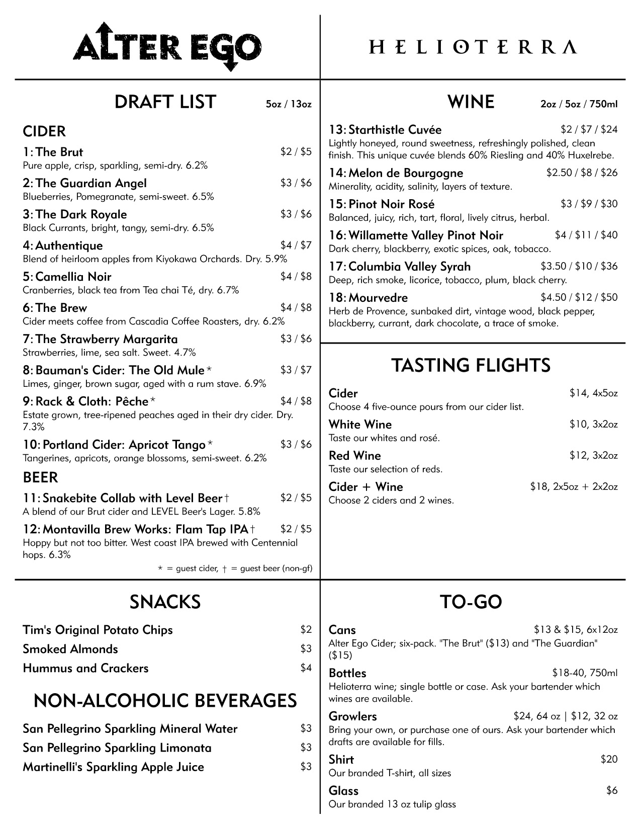 Alter Ego Cider Taphouse Menu