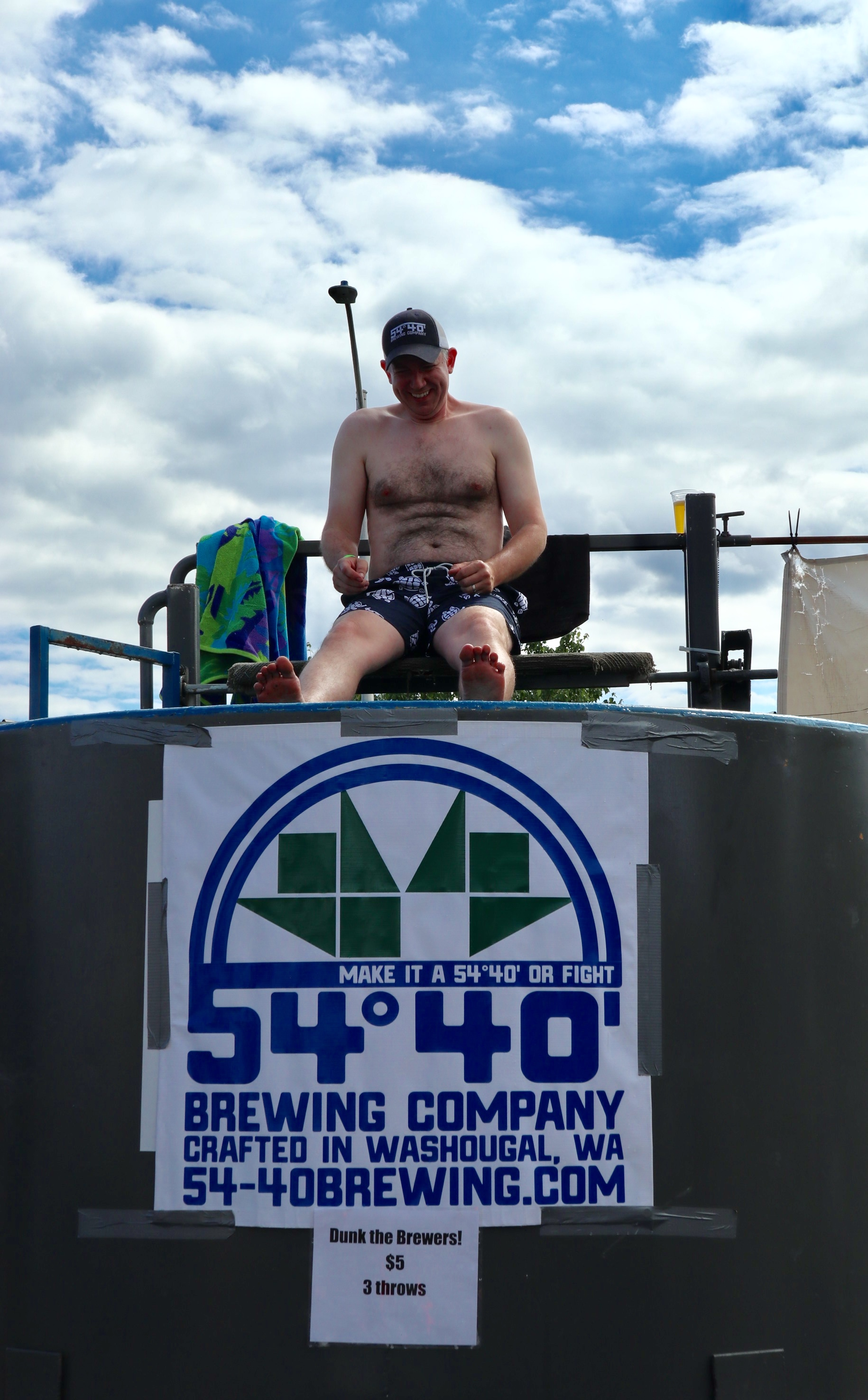 Bolt Minister, owner and brewmaster at 54°40' Brewing Co. in the Brewers Dunk Tank.
