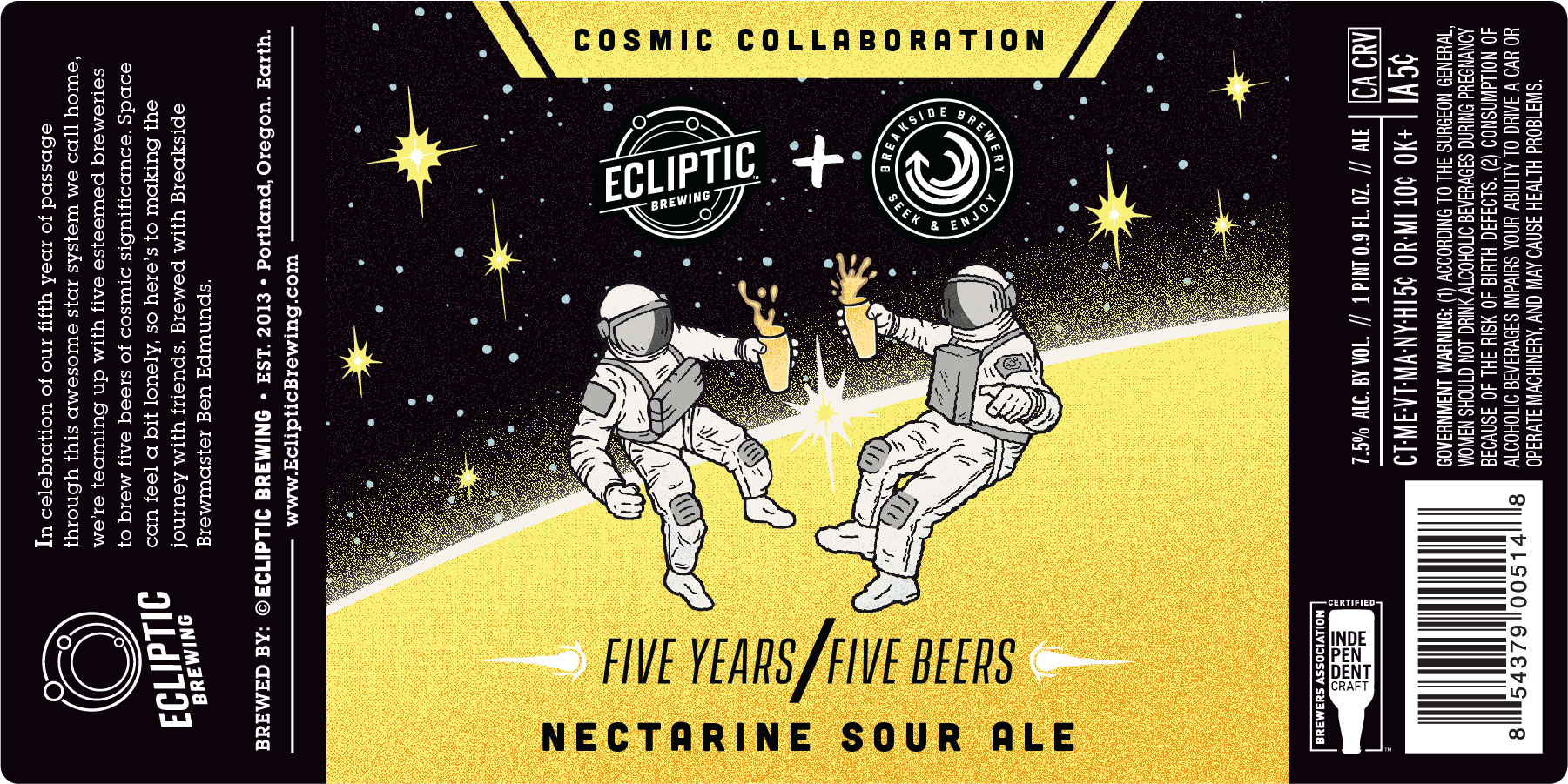 Ecliptic Brewing & Breakside Brewery Cosmic Collaboration Nectarine Sour Ale Label