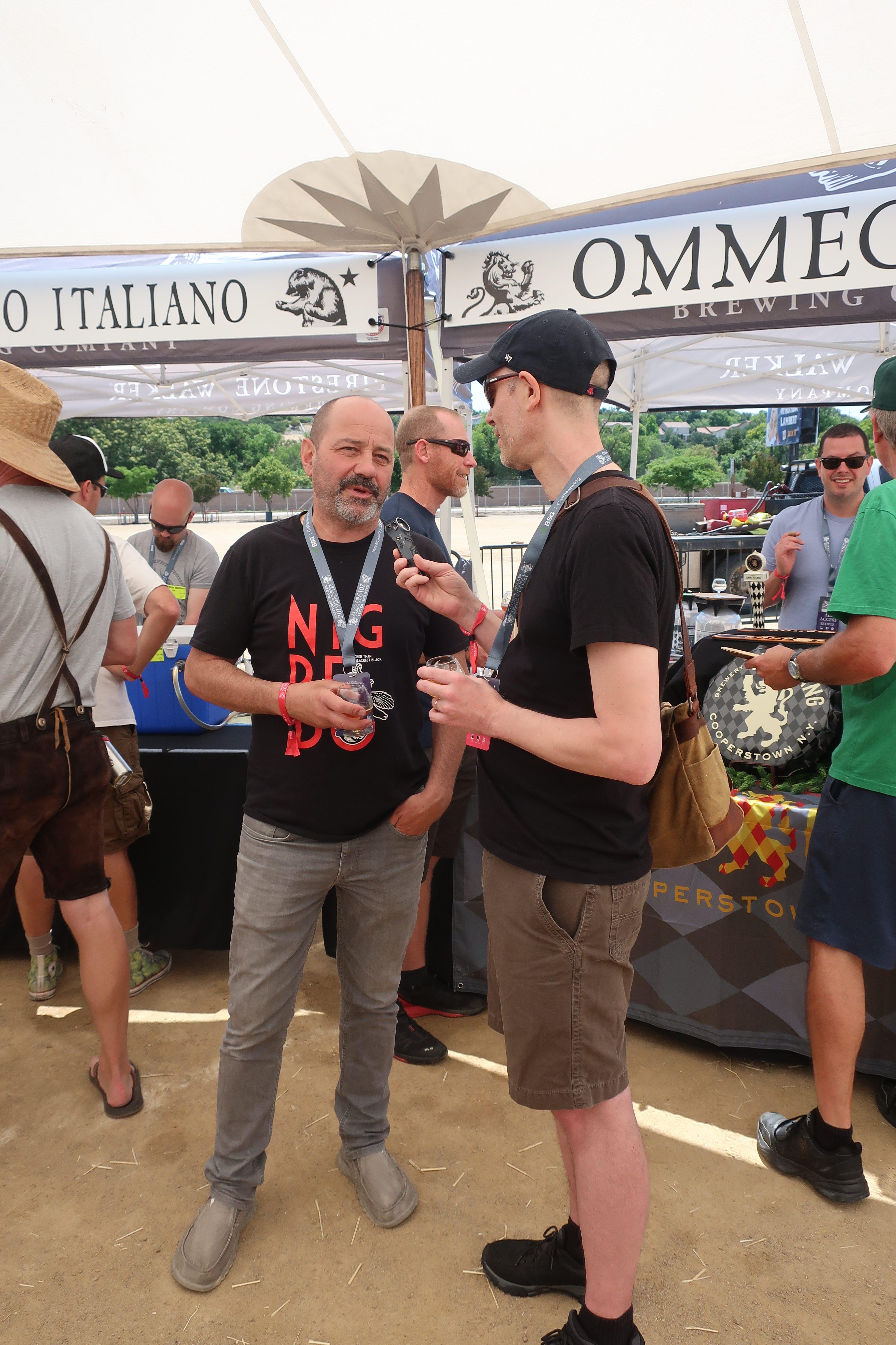 Jeff Alworth interviewing Agostino Arioli from Birrificio Italiano at the 2019 Firestone Walker Invitational Beer Fest.