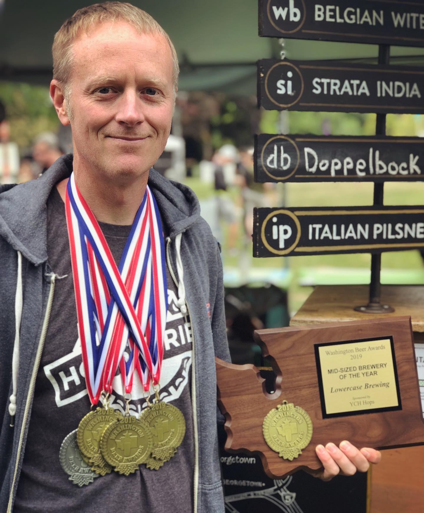 Lowercase Brewing from Seattle took home Mid-Size Brewery of the Year at the 2019 Washington Beer Awards. Pictured is head brewer John Marti for earning 7 medals, 6 of them gold. (image courtesy of Lowercase Brewing)