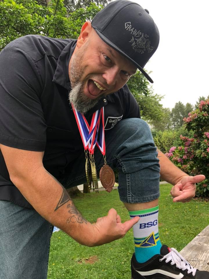 Mike Hunsaker from Grains of Wrath Brewing took home 4 Gold Medals and 1 Bronze Medal at the 2019 Washington Beer Awards. (image courtesy of Grains of Wrath Brewing)